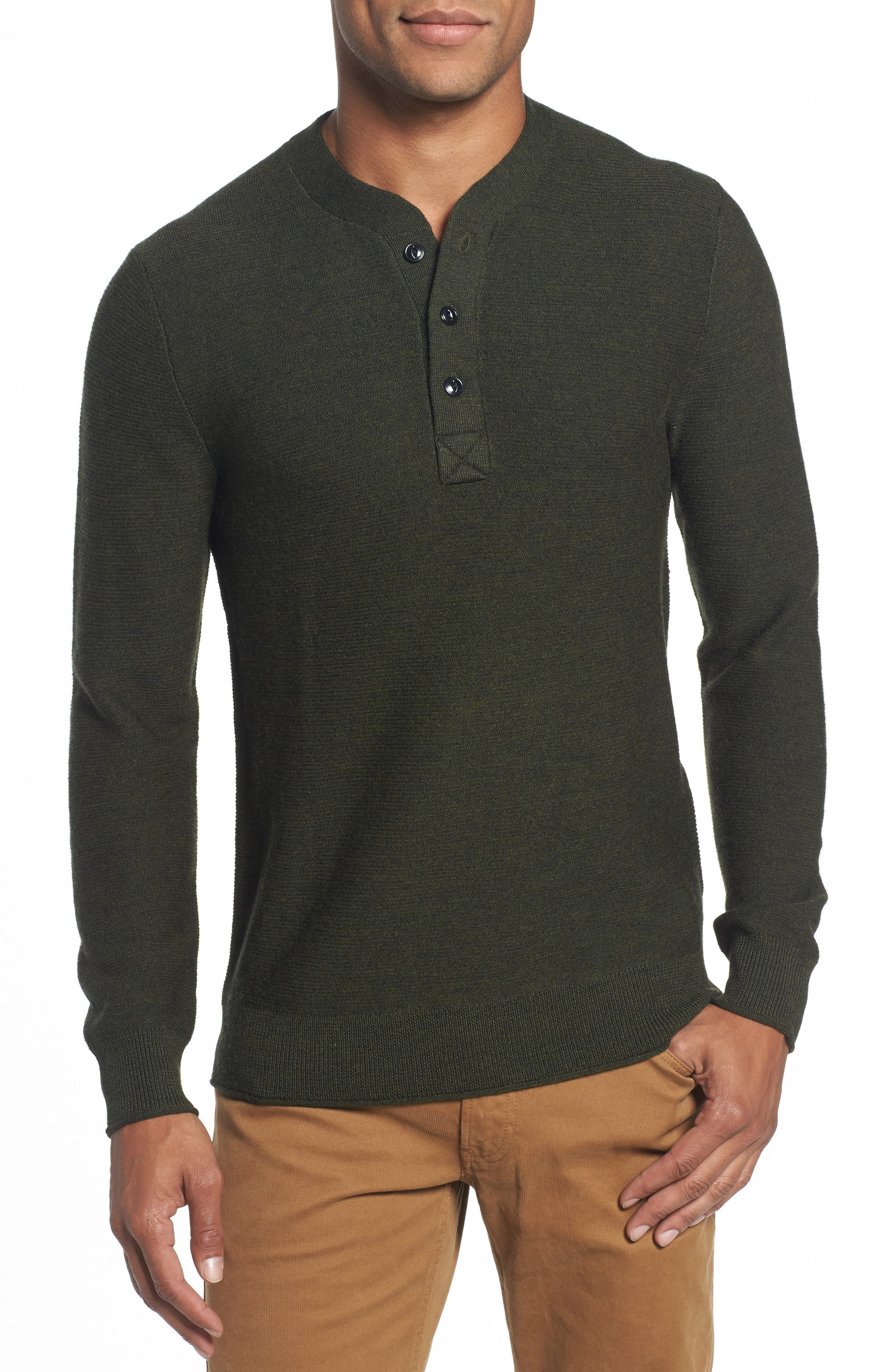 Slim Fit Merino Long Sleeve Henley Sweater,                             Main thumbnail 1, color,                             300