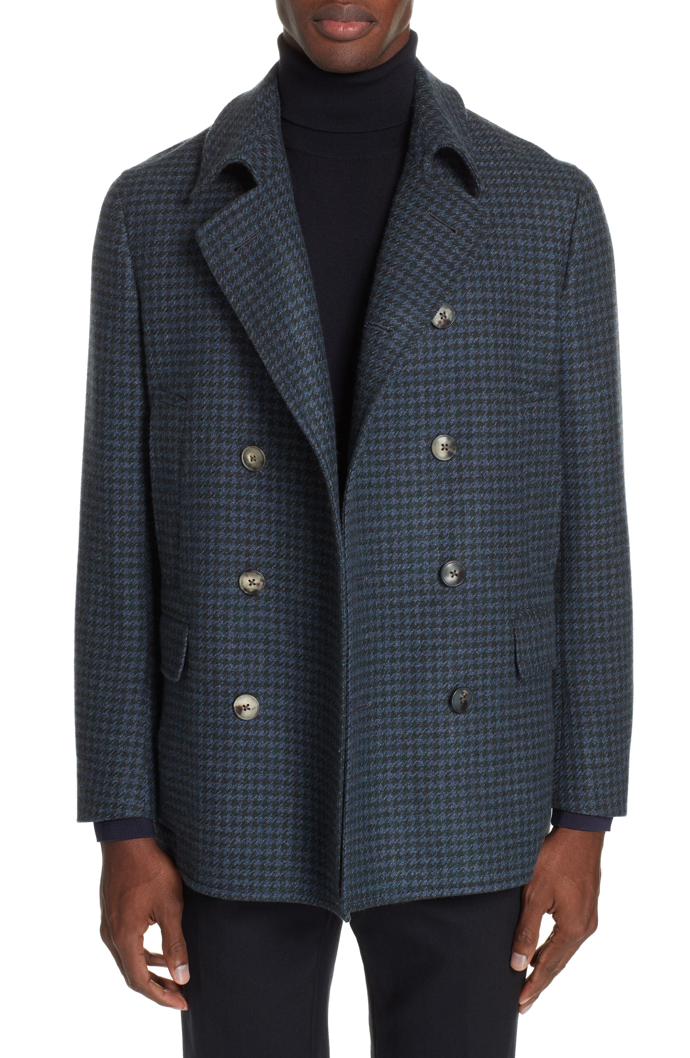 Trim Fit Double Breasted Houndstooth Wool Coat,                         Main,                         color, GREEN/ BLUE