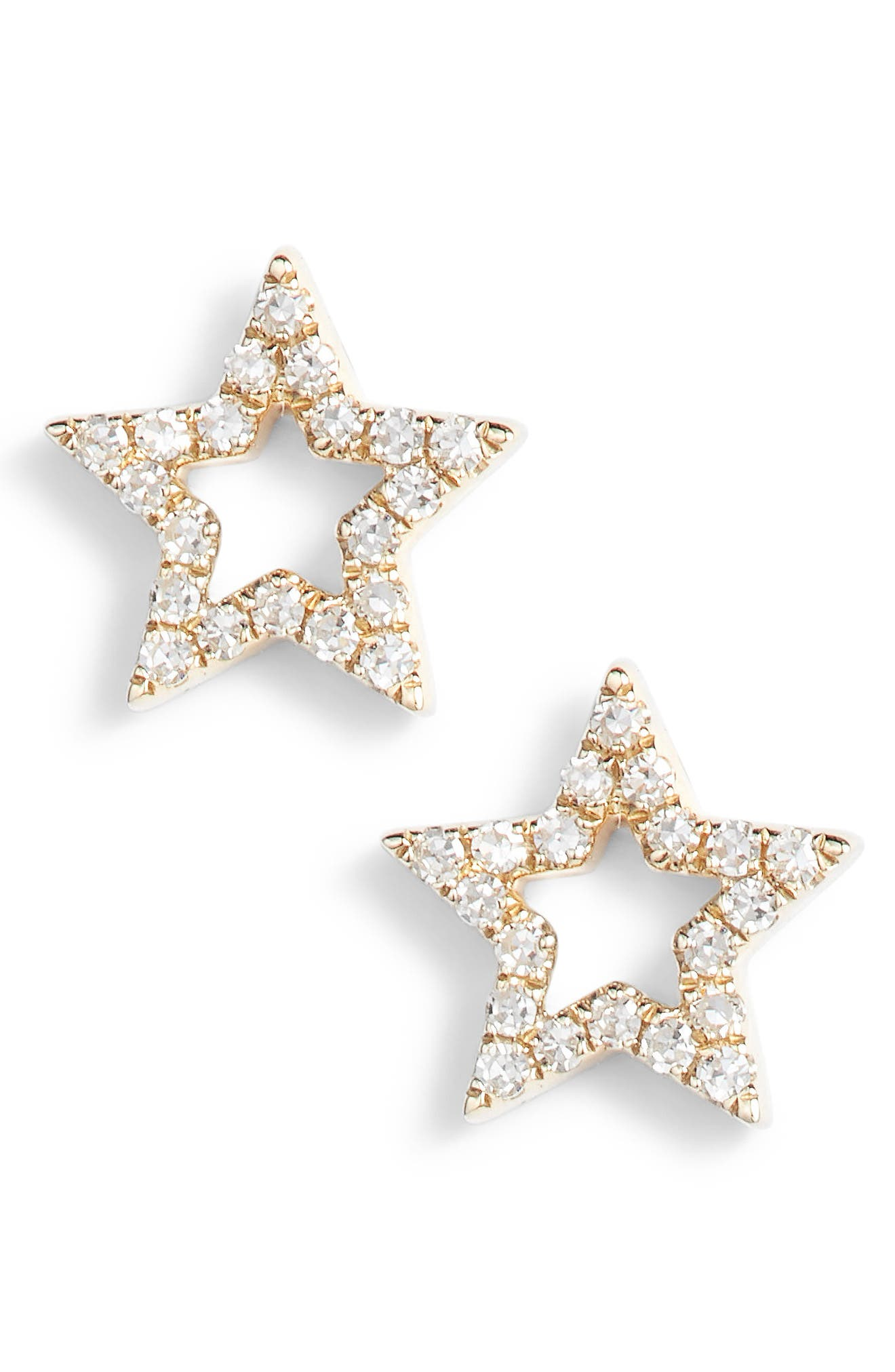 Open Star Diamond Stud Earrings,                         Main,                         color, YELLOW GOLD