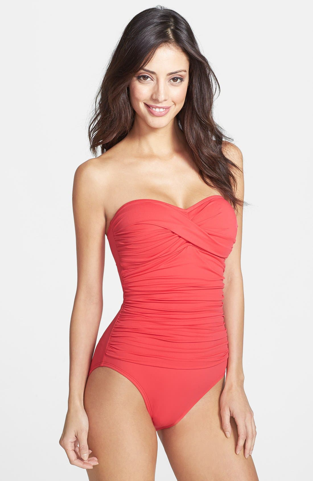 Twist Front Bandeau One-Piece Swimsuit,                             Main thumbnail 6, color,