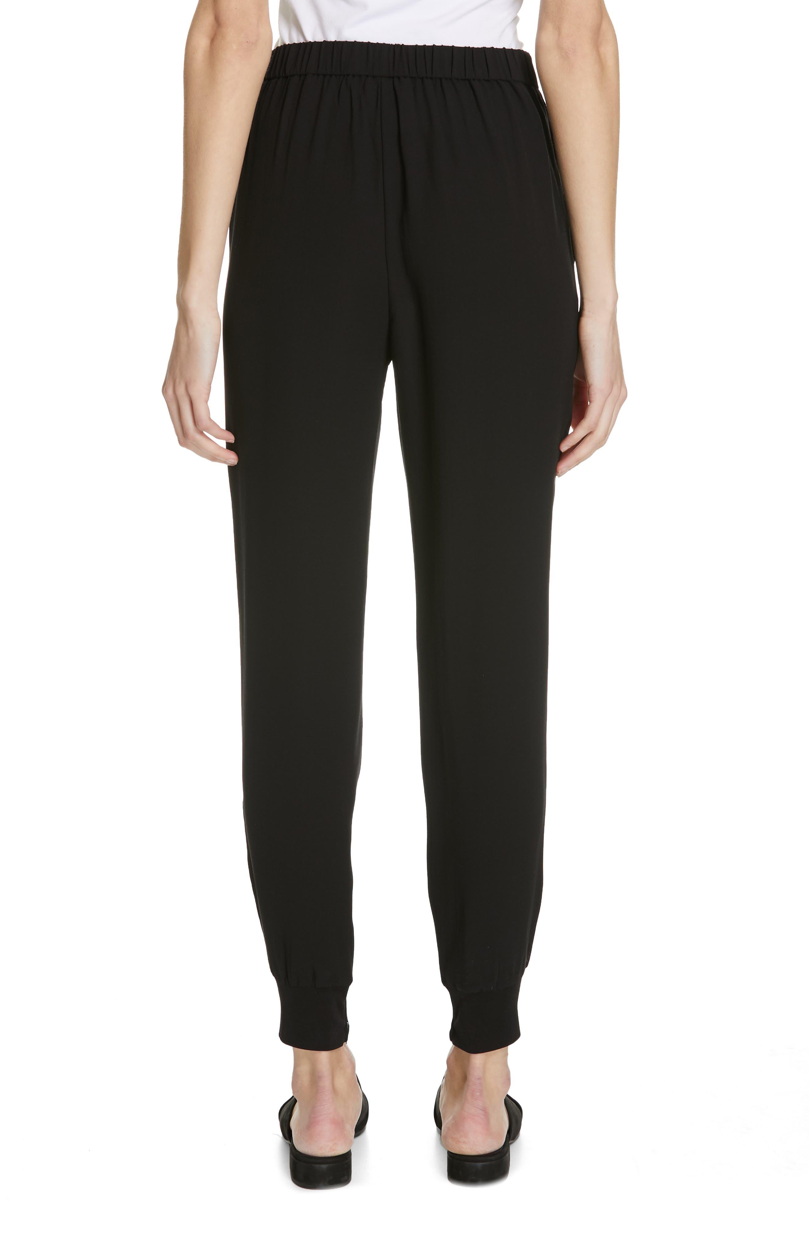 Slouchy Silk Ankle Pants,                             Alternate thumbnail 2, color,                             BLACK