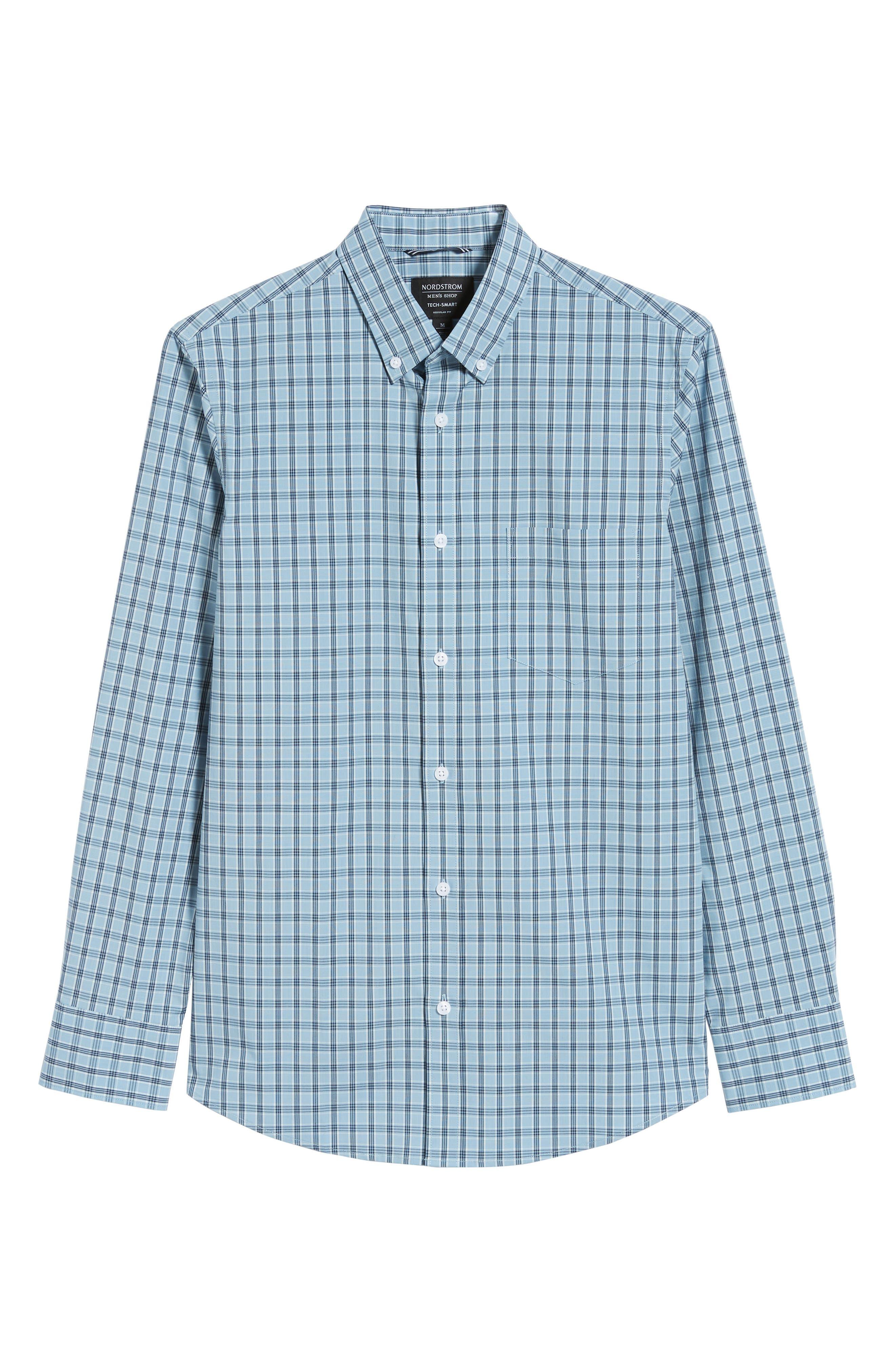 Tech-Smart Slim Fit Plaid Sport Shirt,                             Alternate thumbnail 5, color,                             BLUE HEAVEN HEATHER CHECK