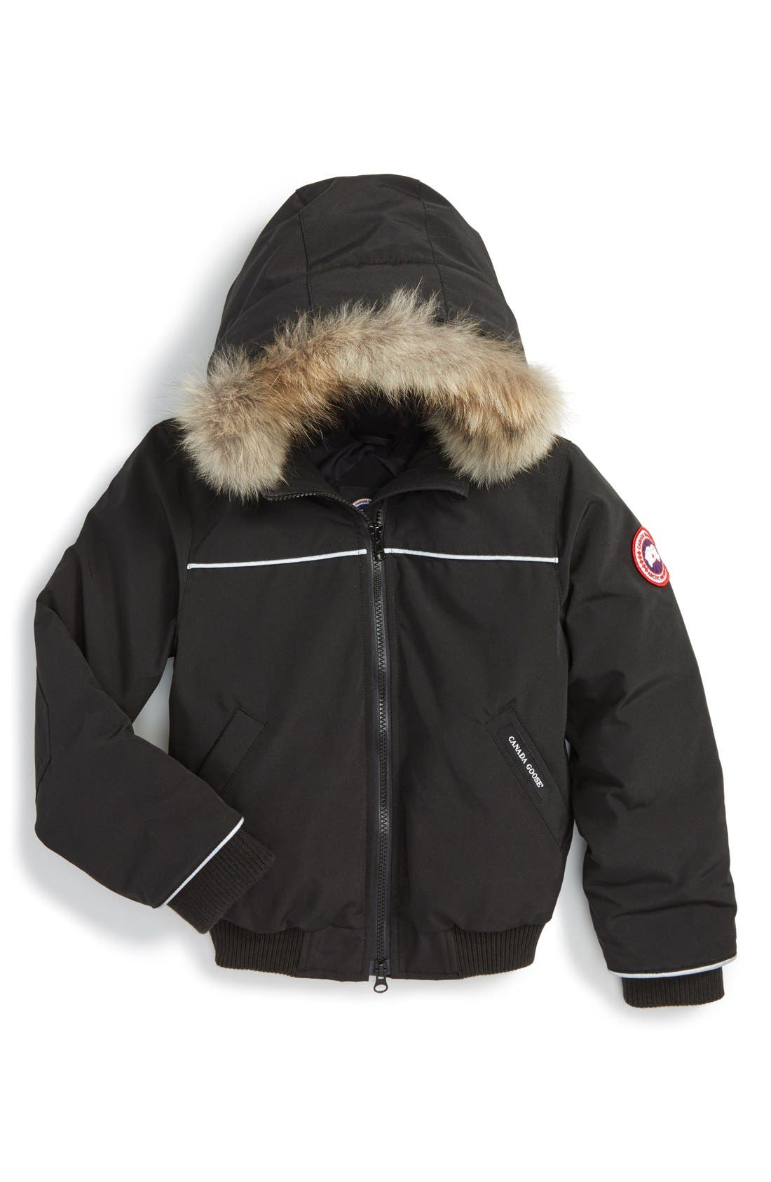 'Grizzly' Down Hooded Bomber Jacket with Genuine Coyote Fur Trim,                             Main thumbnail 1, color,                             BLACK