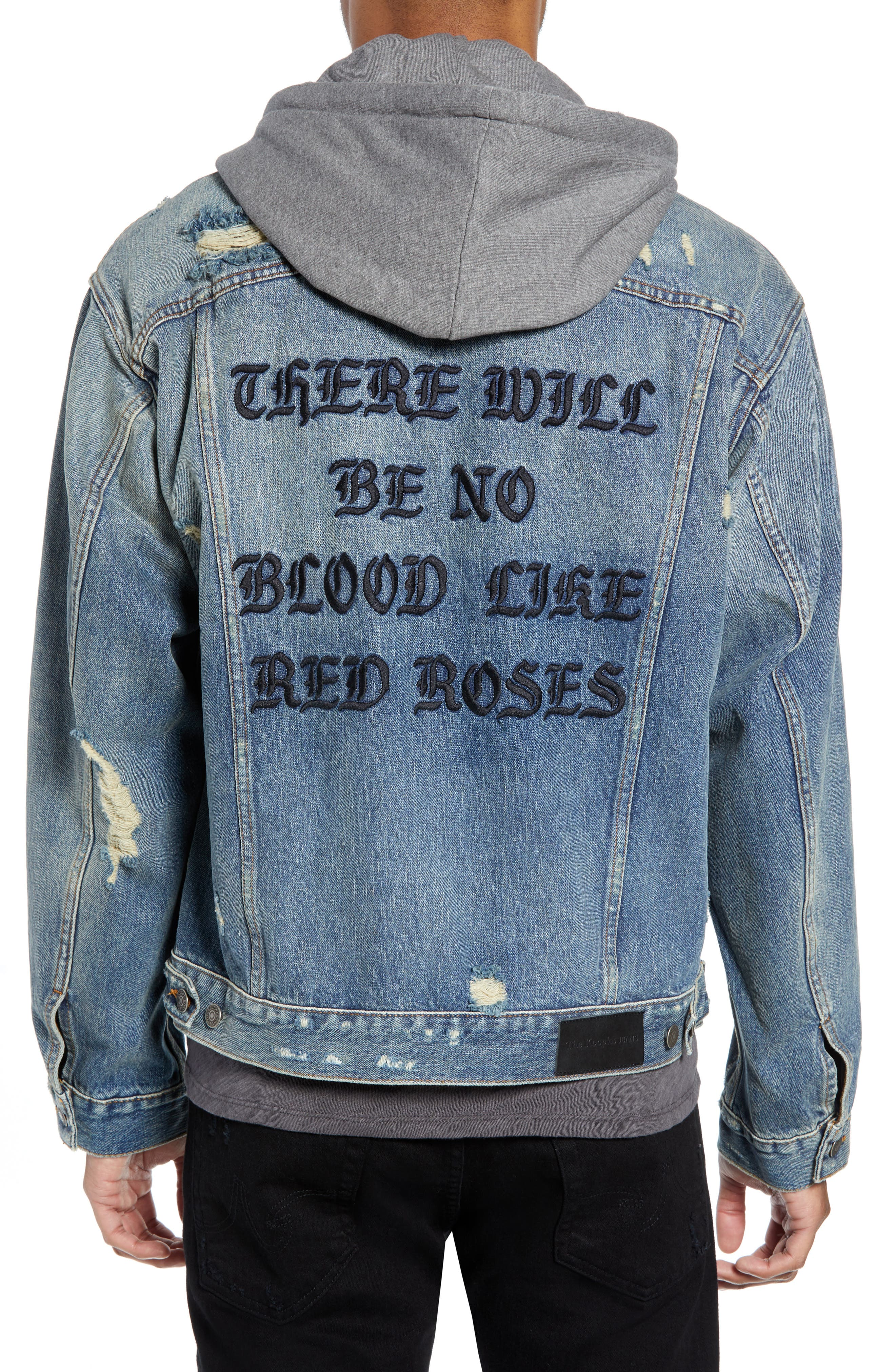 Oversized Distressed Denim Jacket with Hood,                             Alternate thumbnail 2, color,                             420