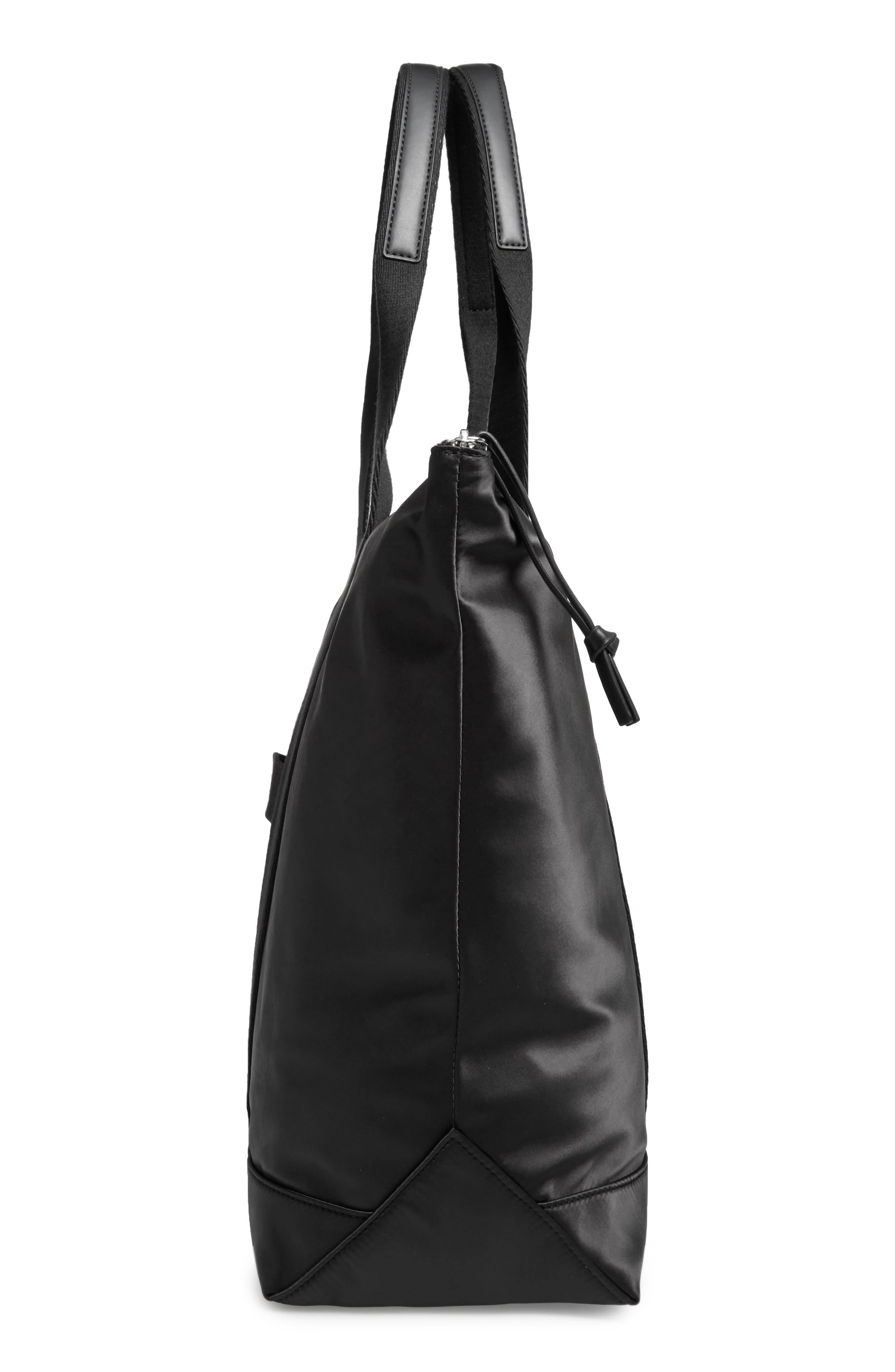 Satin Nylon Tote,                             Alternate thumbnail 5, color,                             001