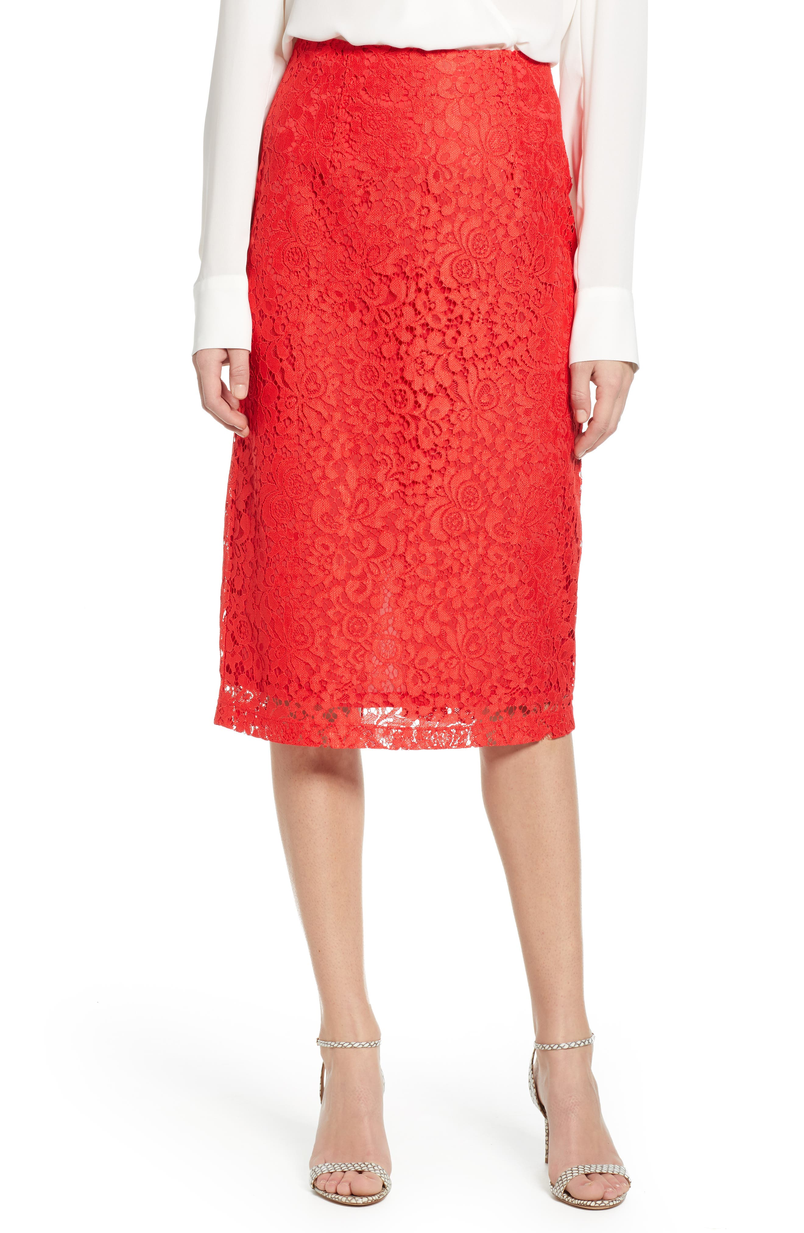 Petite Halogen Lace Pencil Skirt, Red