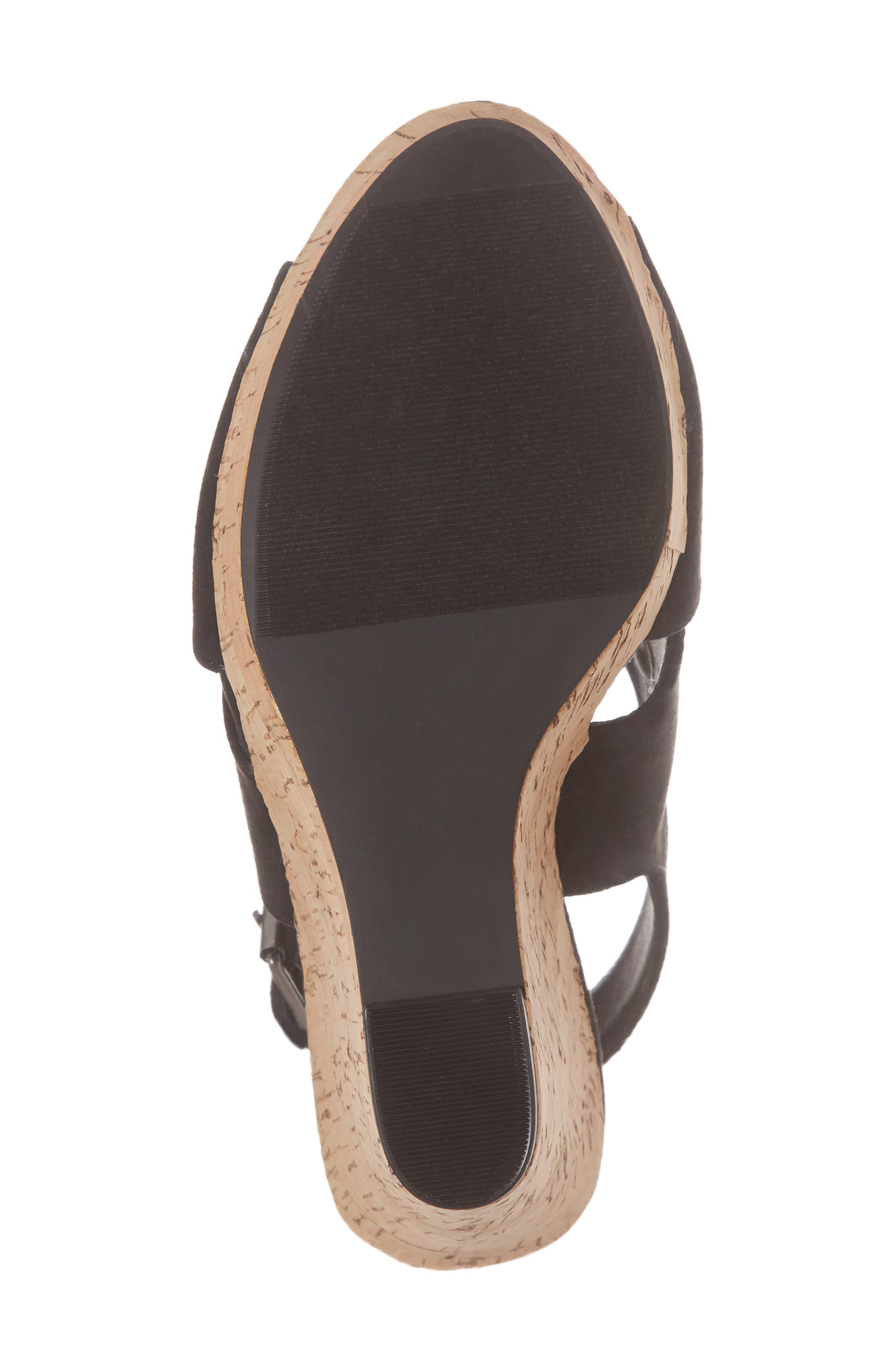 Myya Slingback Wedge Sandal,                             Alternate thumbnail 6, color,                             BLACK