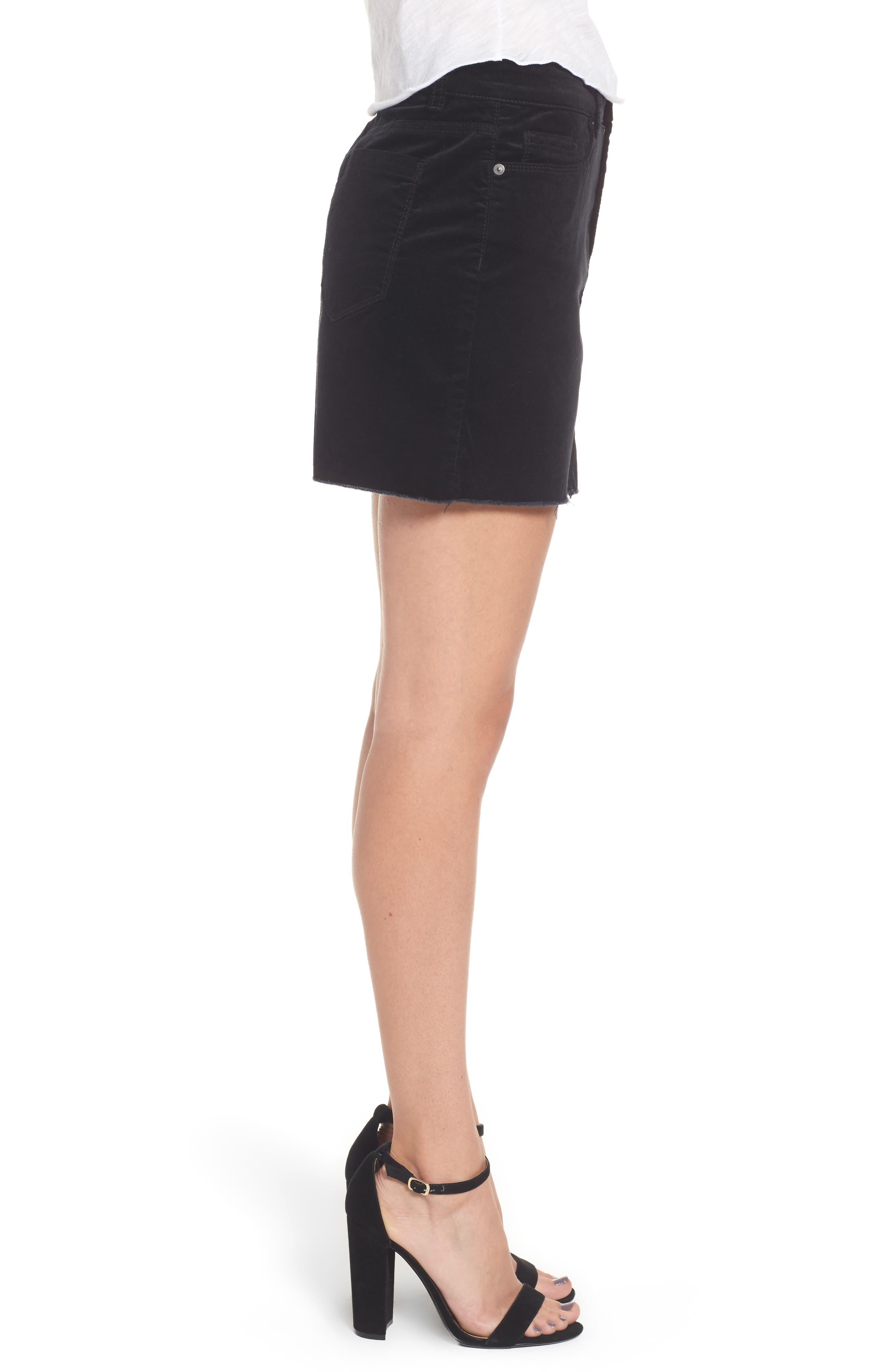 Raw Edge Miniskirt,                             Alternate thumbnail 3, color,                             001