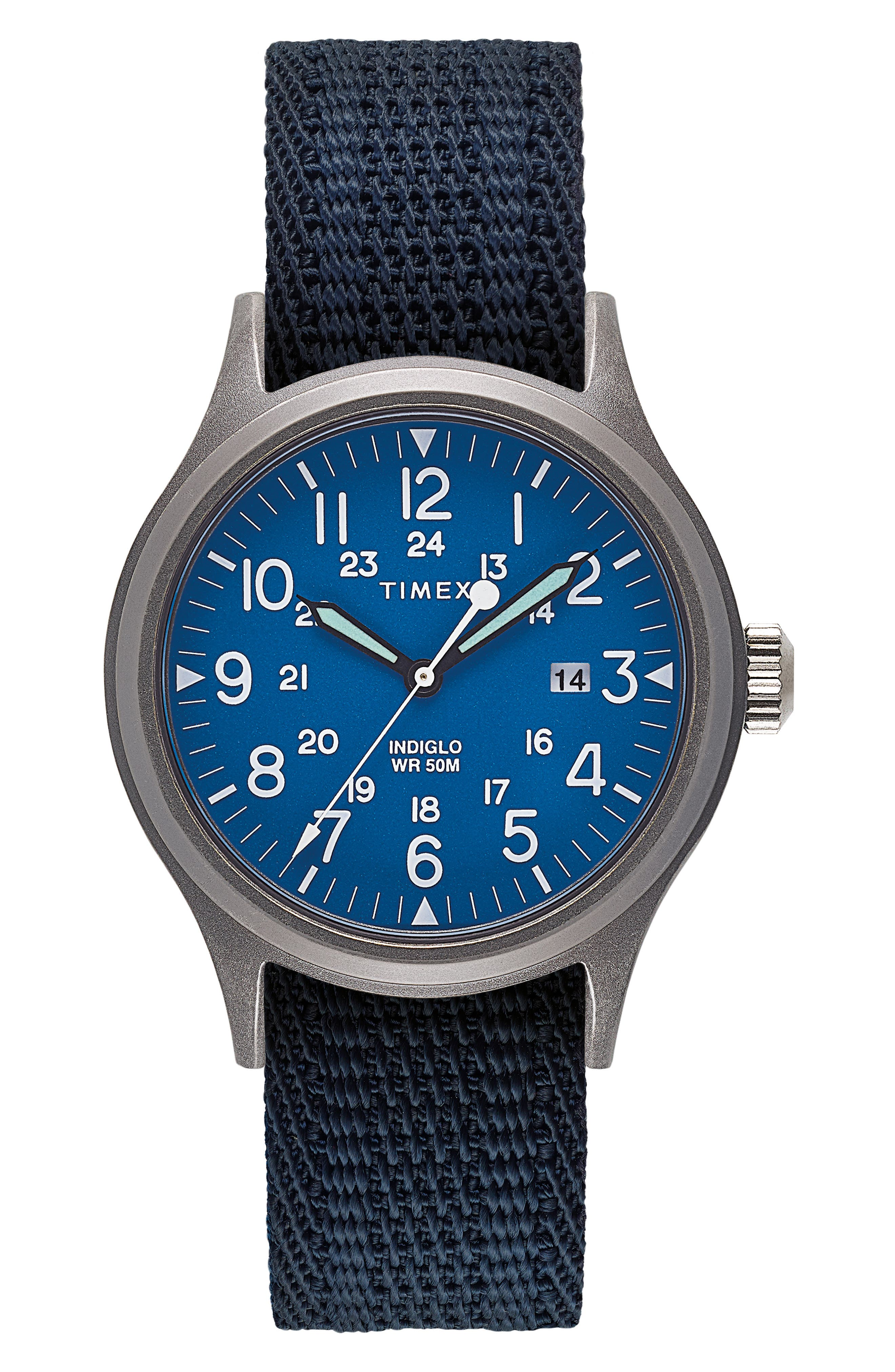 Allied Reversible Strap Watch, 40mm,                         Main,                         color, SILVER/ BLUE