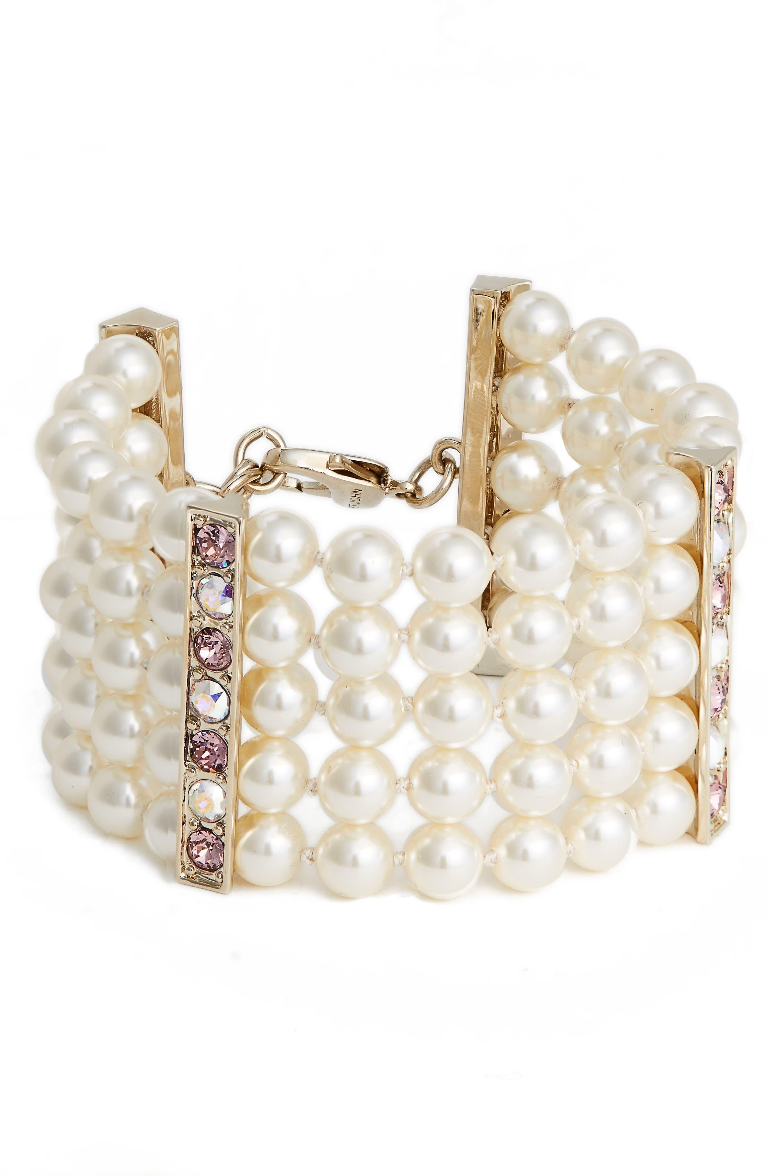 Swarovski Imitation Pearl & Crystal Bracelet,                         Main,                         color, 710