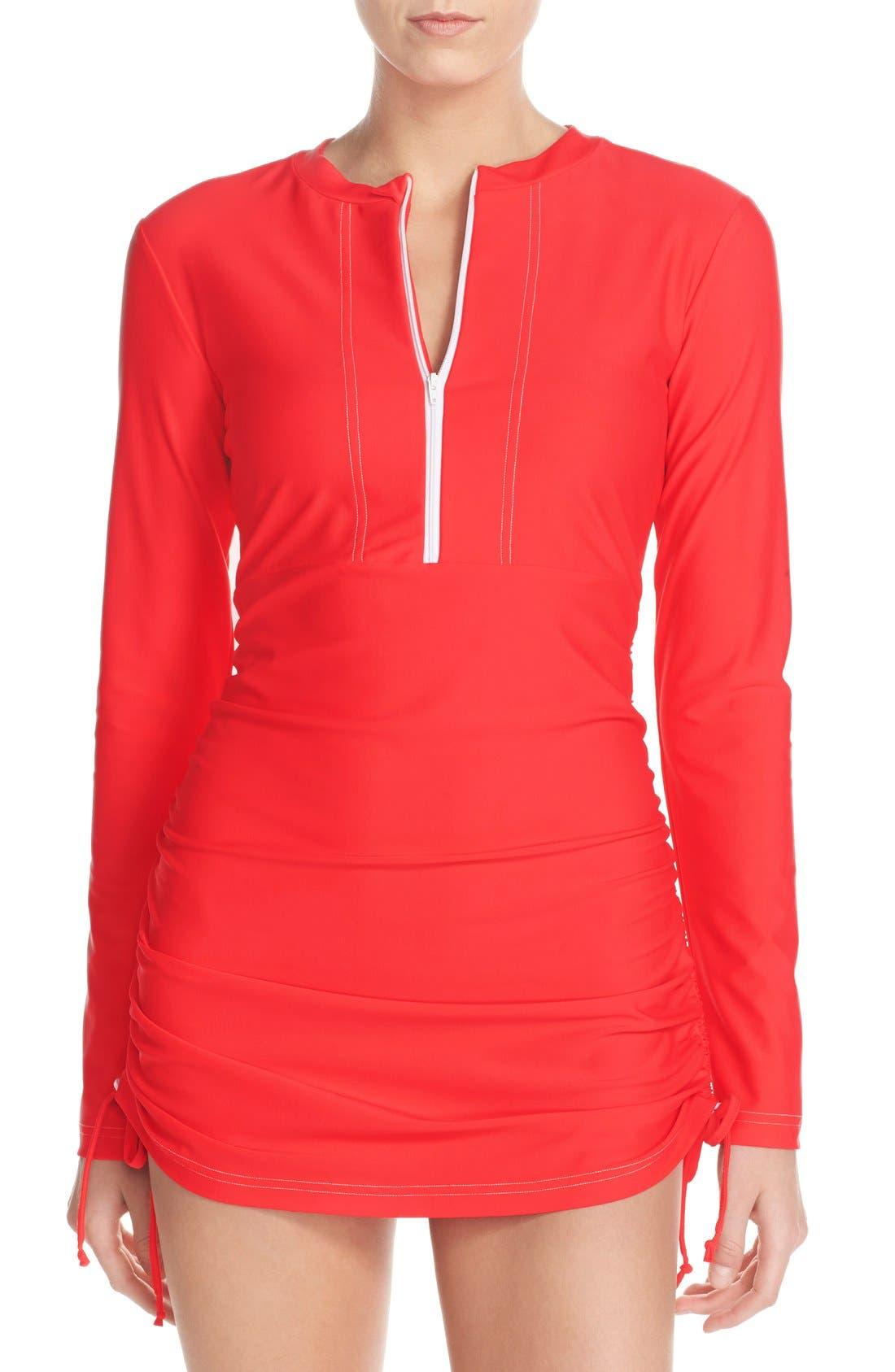 'Sonja' Long Sleeve Half Zip Convertible Swimdress,                             Main thumbnail 11, color,
