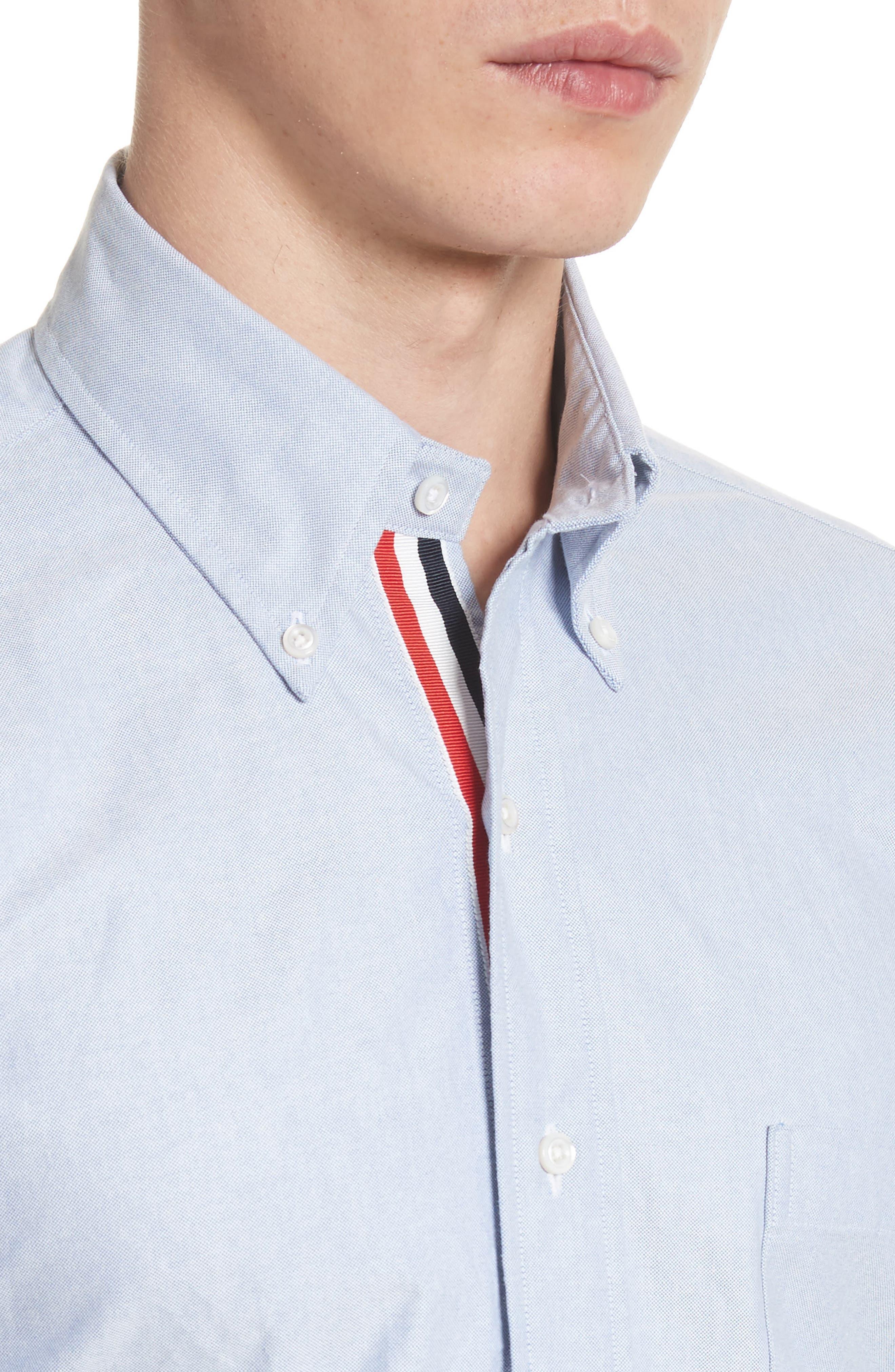 Extra Trim Fit Oxford Shirt with Grosgrain Trim,                             Alternate thumbnail 5, color,                             LIGHT BLUE
