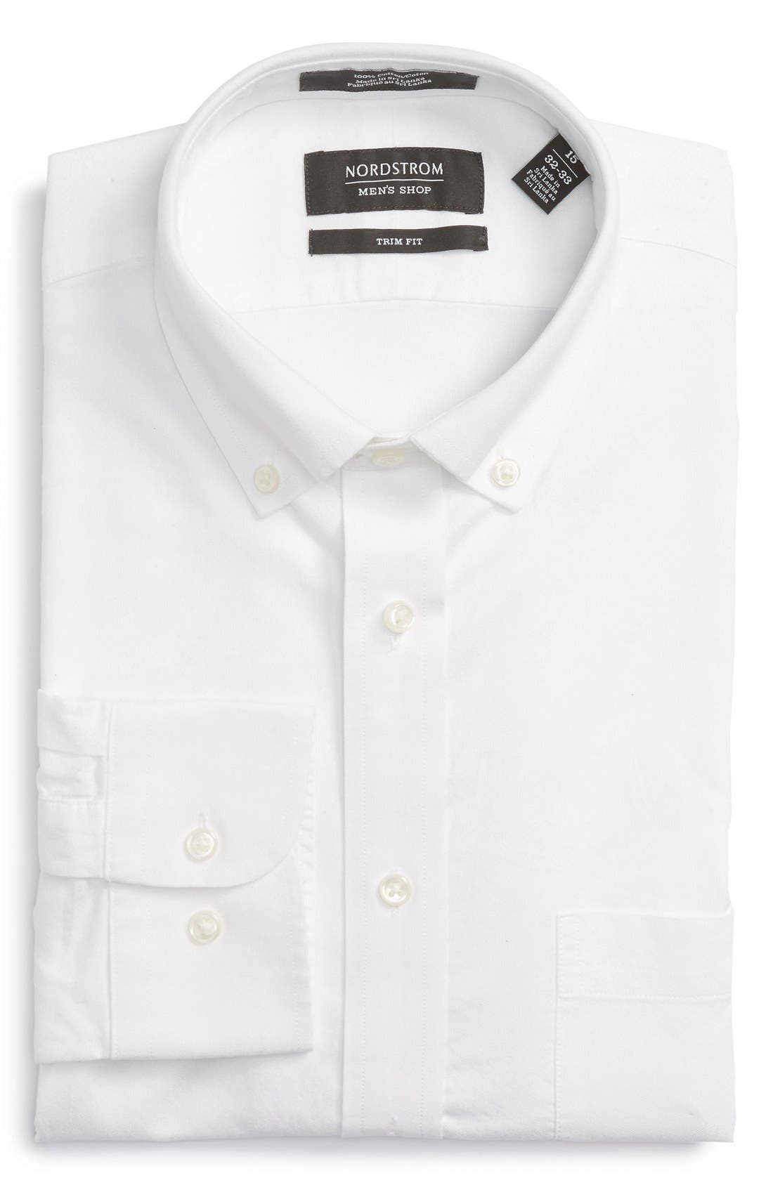 Trim Fit Solid Oxford Dress Shirt,                             Main thumbnail 1, color,