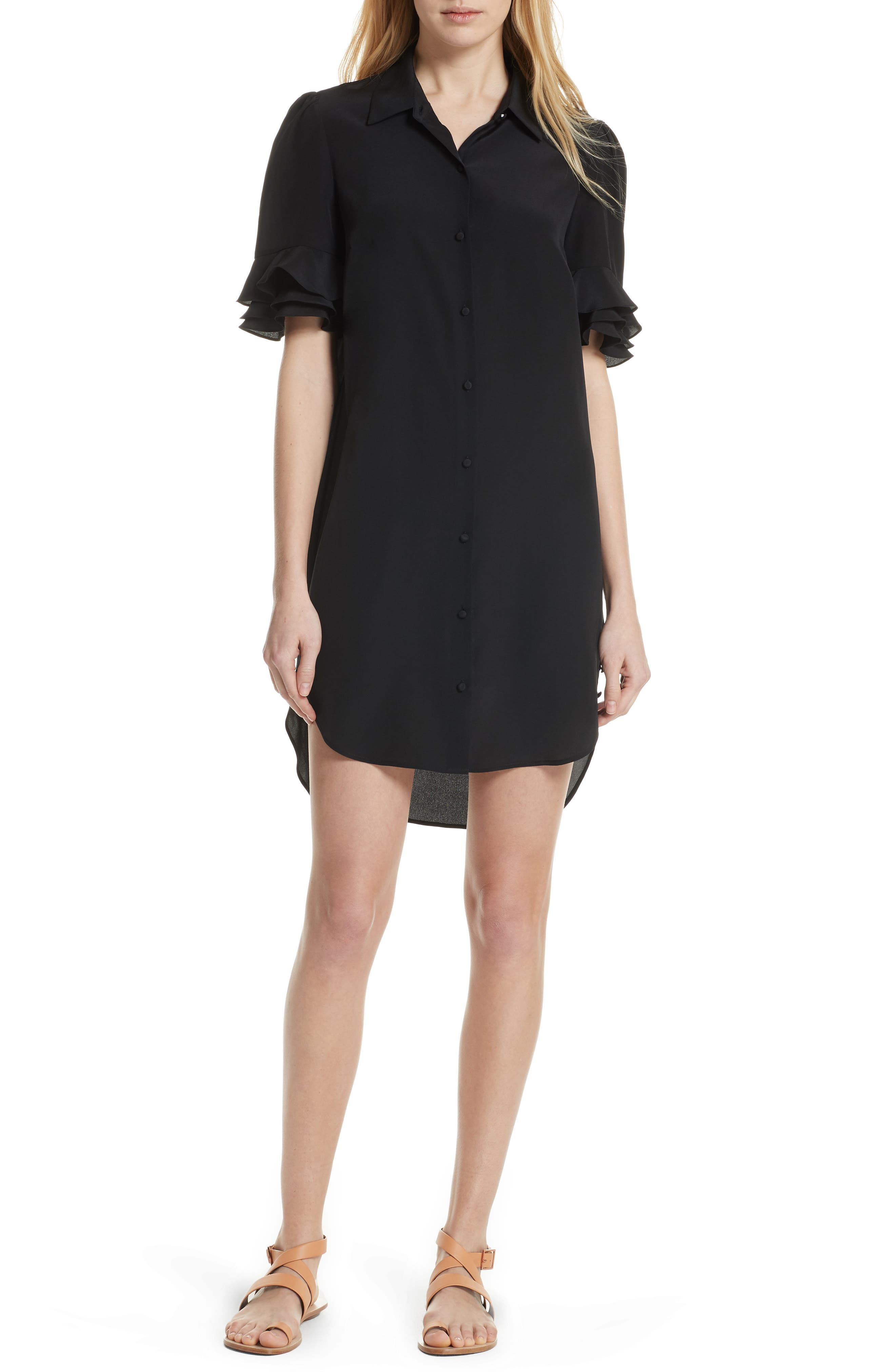 Ruffle Sleeve Silk Dress,                             Main thumbnail 1, color,                             001