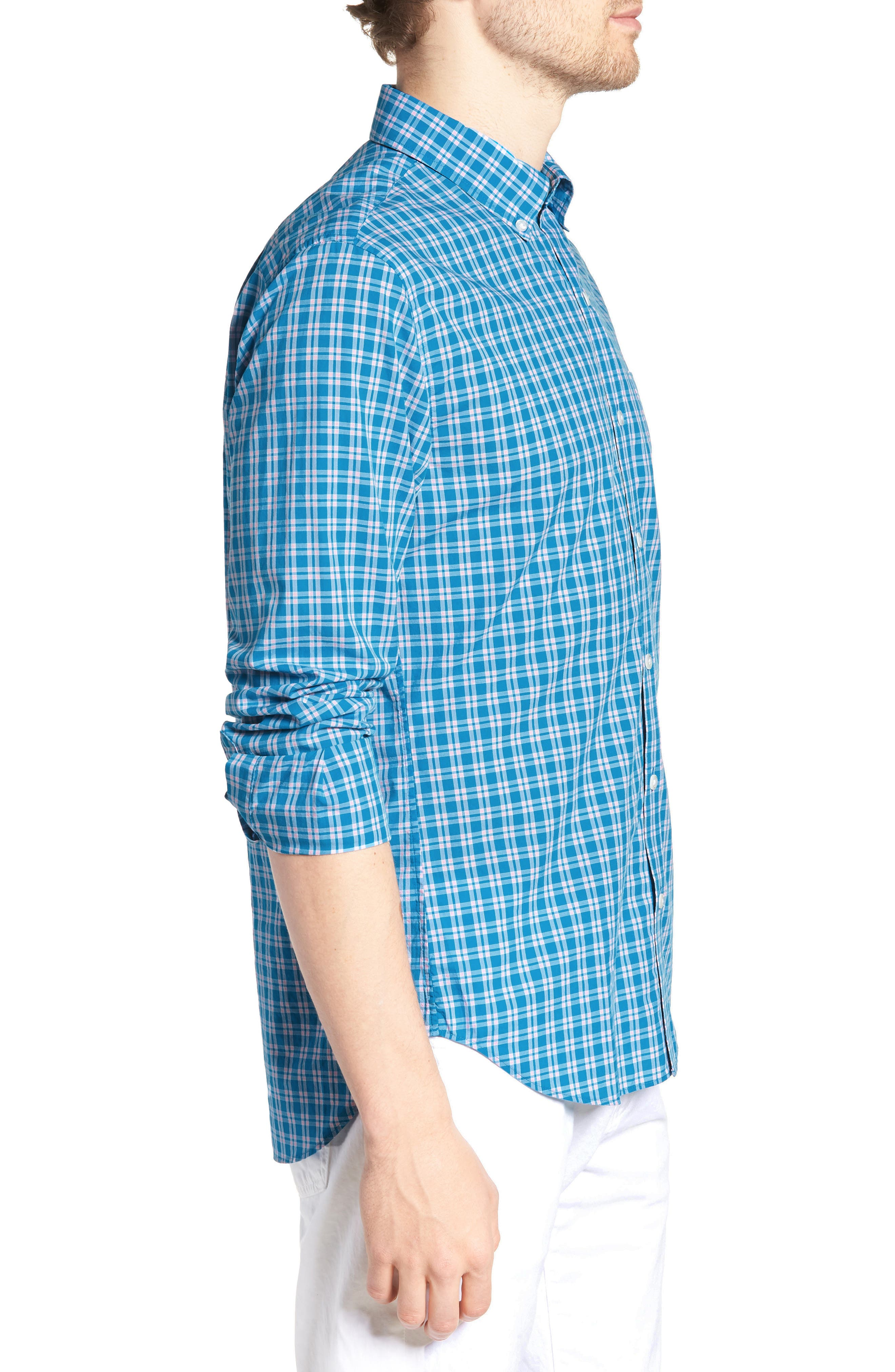 Summerweight Slim Fit Check Sport Shirt,                             Alternate thumbnail 3, color,                             400