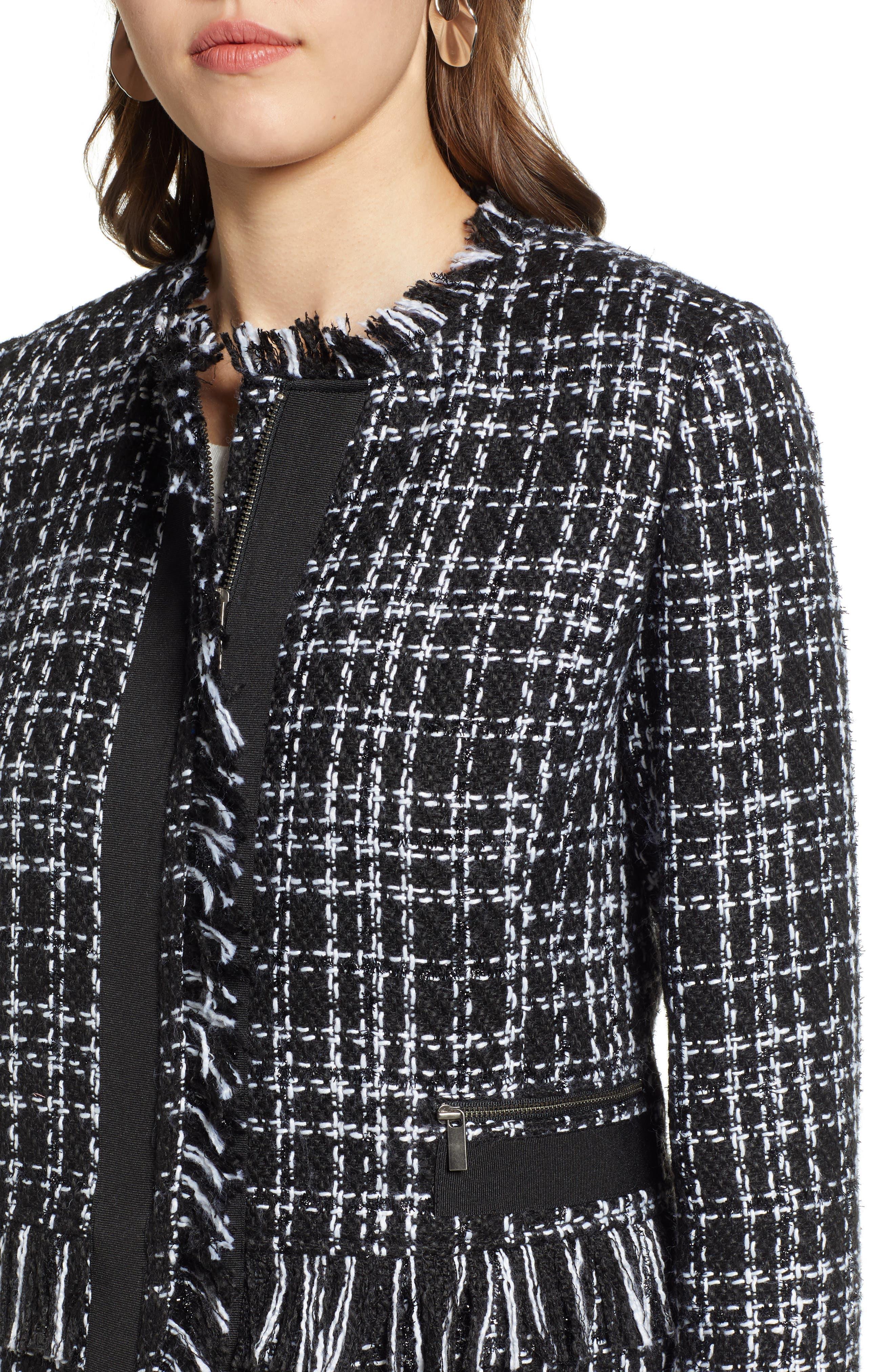 Tweed Jacket,                             Alternate thumbnail 4, color,                             BLACK- WHITE TWEED