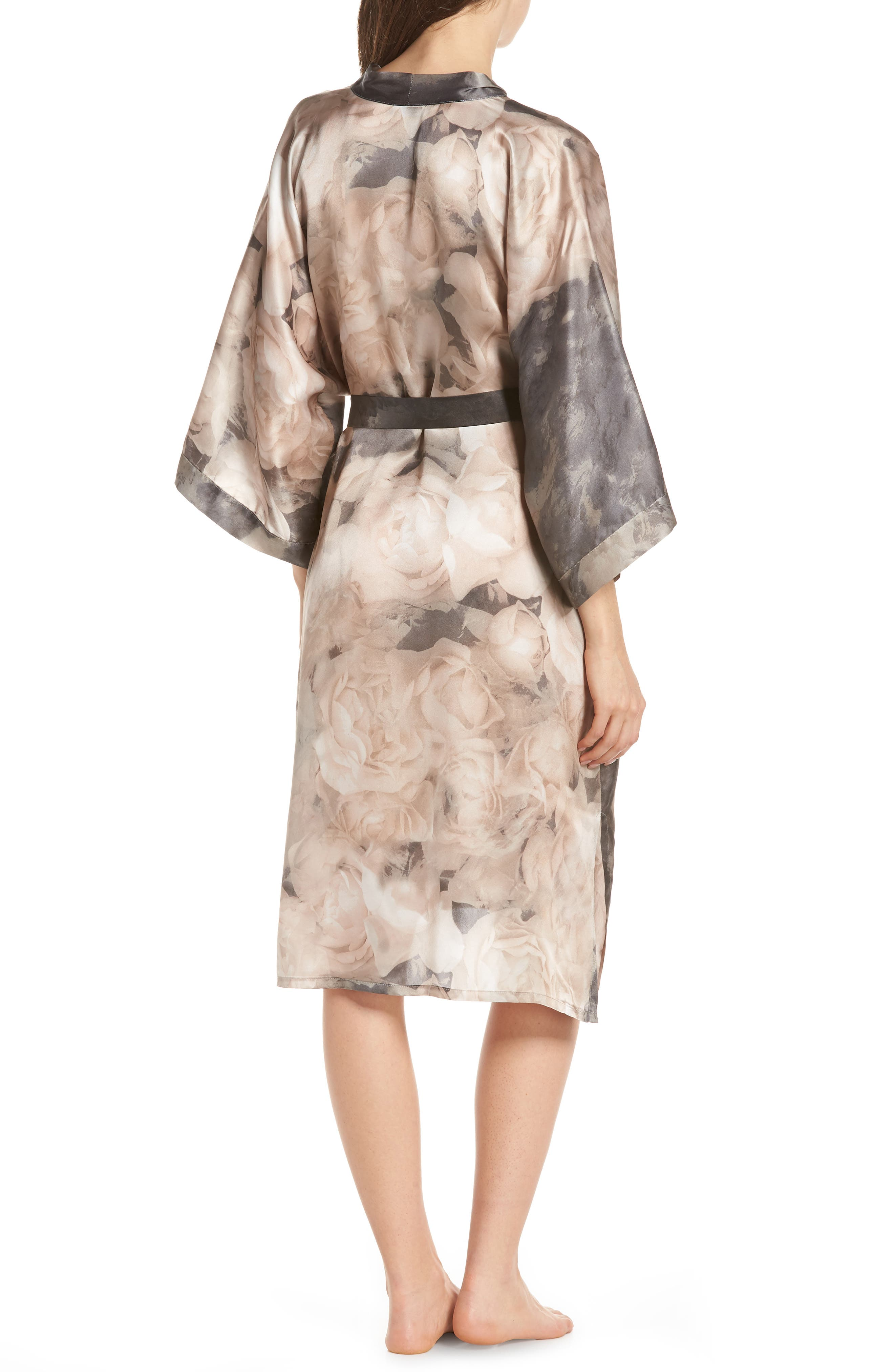 SAMANTHA CHANG,                             Silk Kimono,                             Alternate thumbnail 2, color,                             TENDER ROSE PRINT
