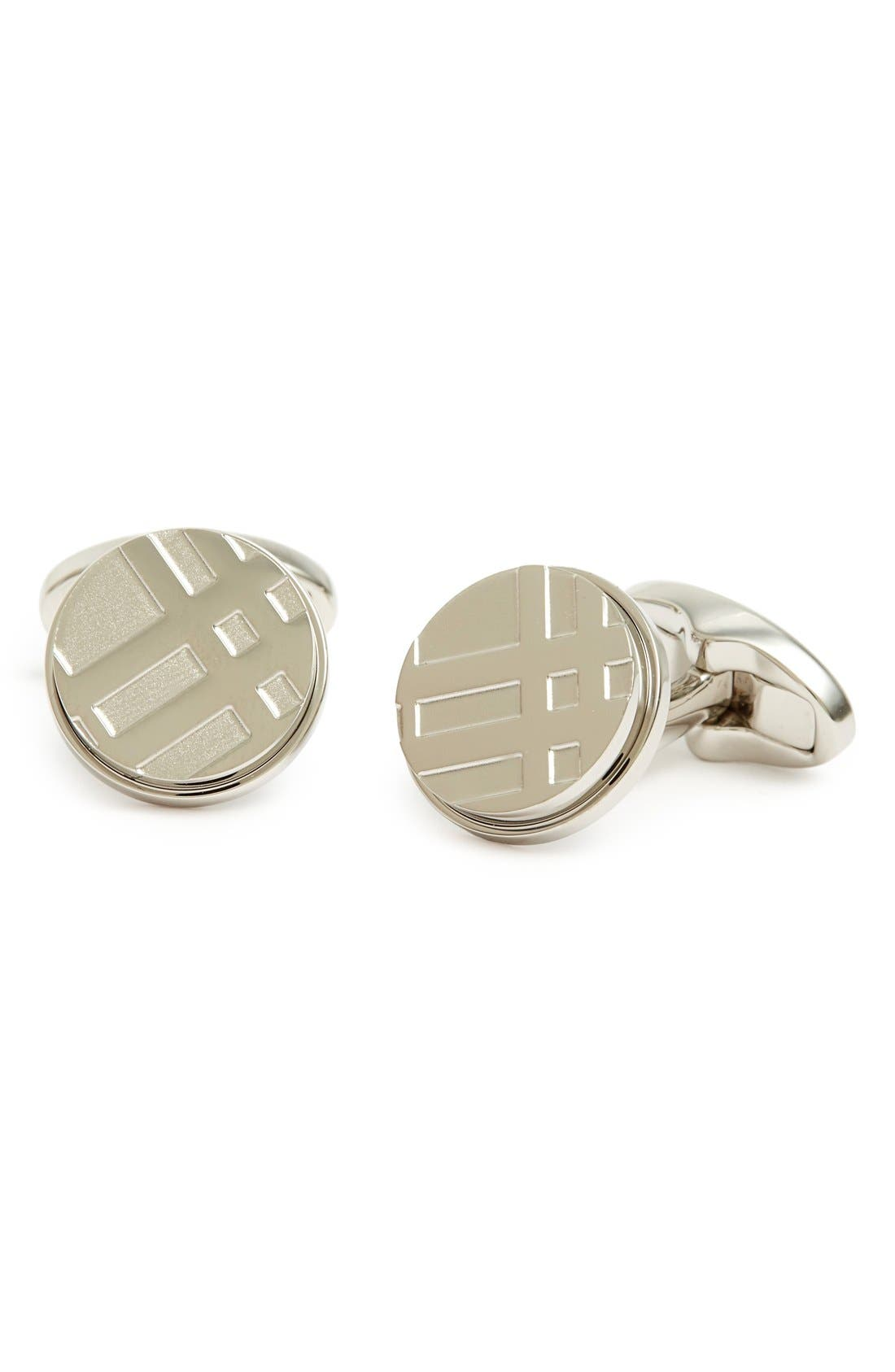 Round Cuff Links,                         Main,                         color, SILVER