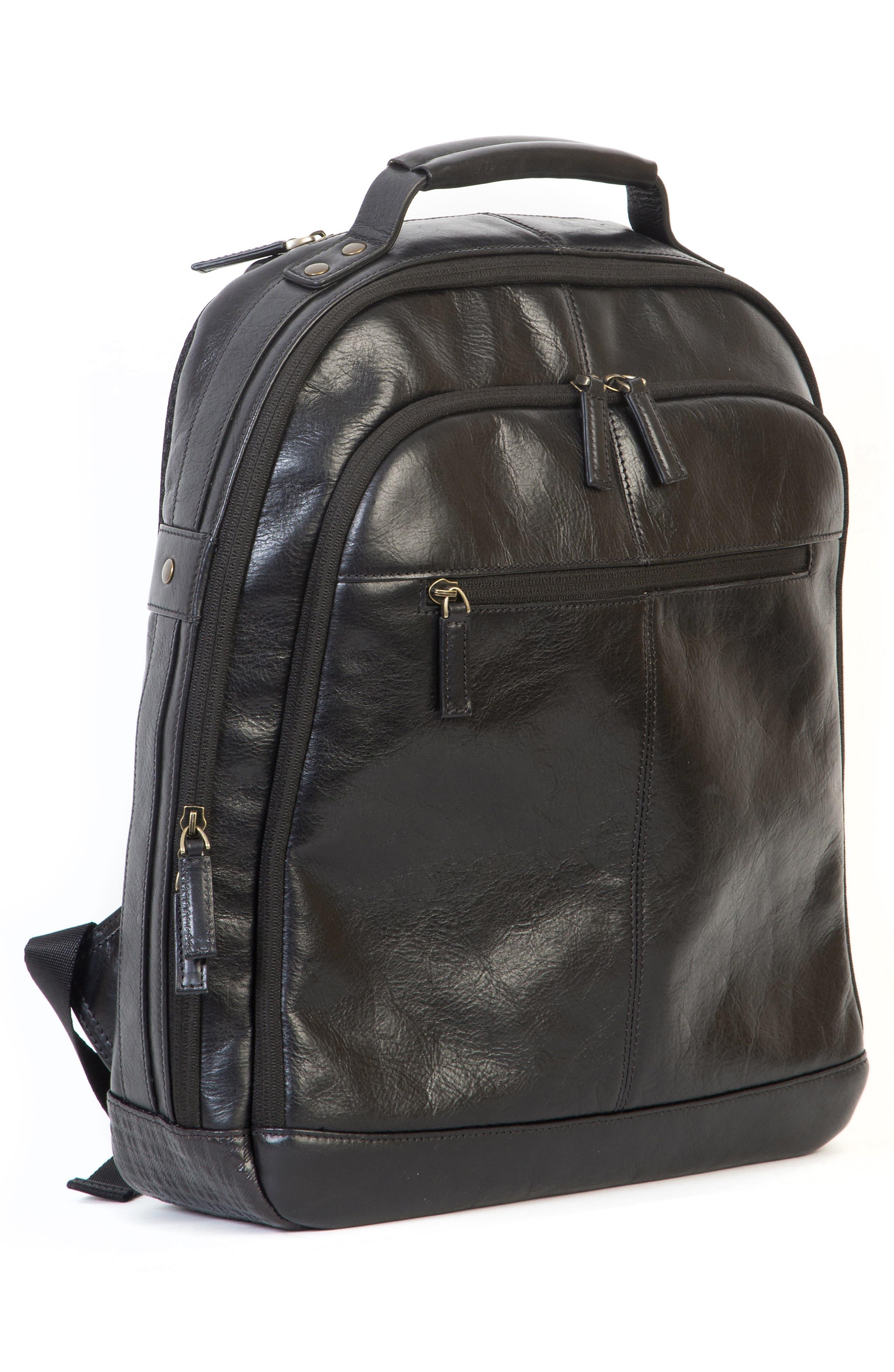 'Becker' Leather Backpack,                             Alternate thumbnail 5, color,                             001