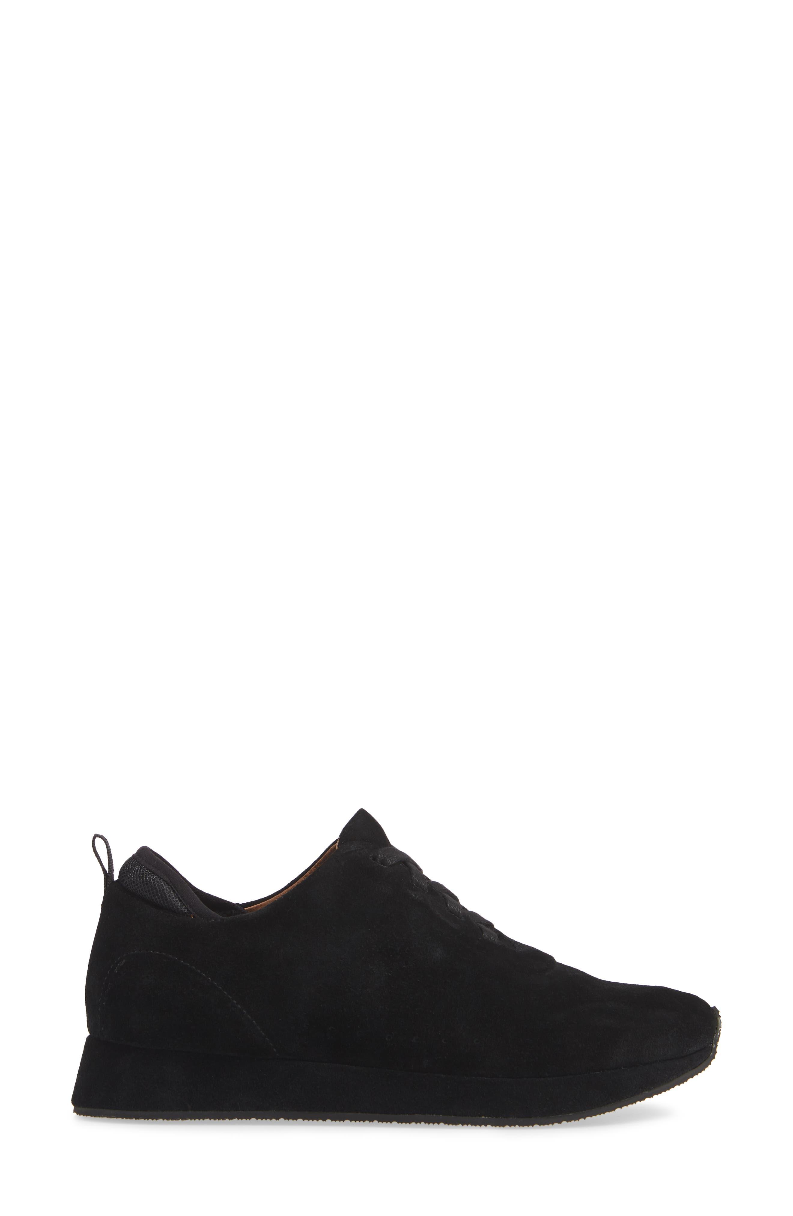 Mabel Sneaker,                             Alternate thumbnail 3, color,                             BLACK SUEDE