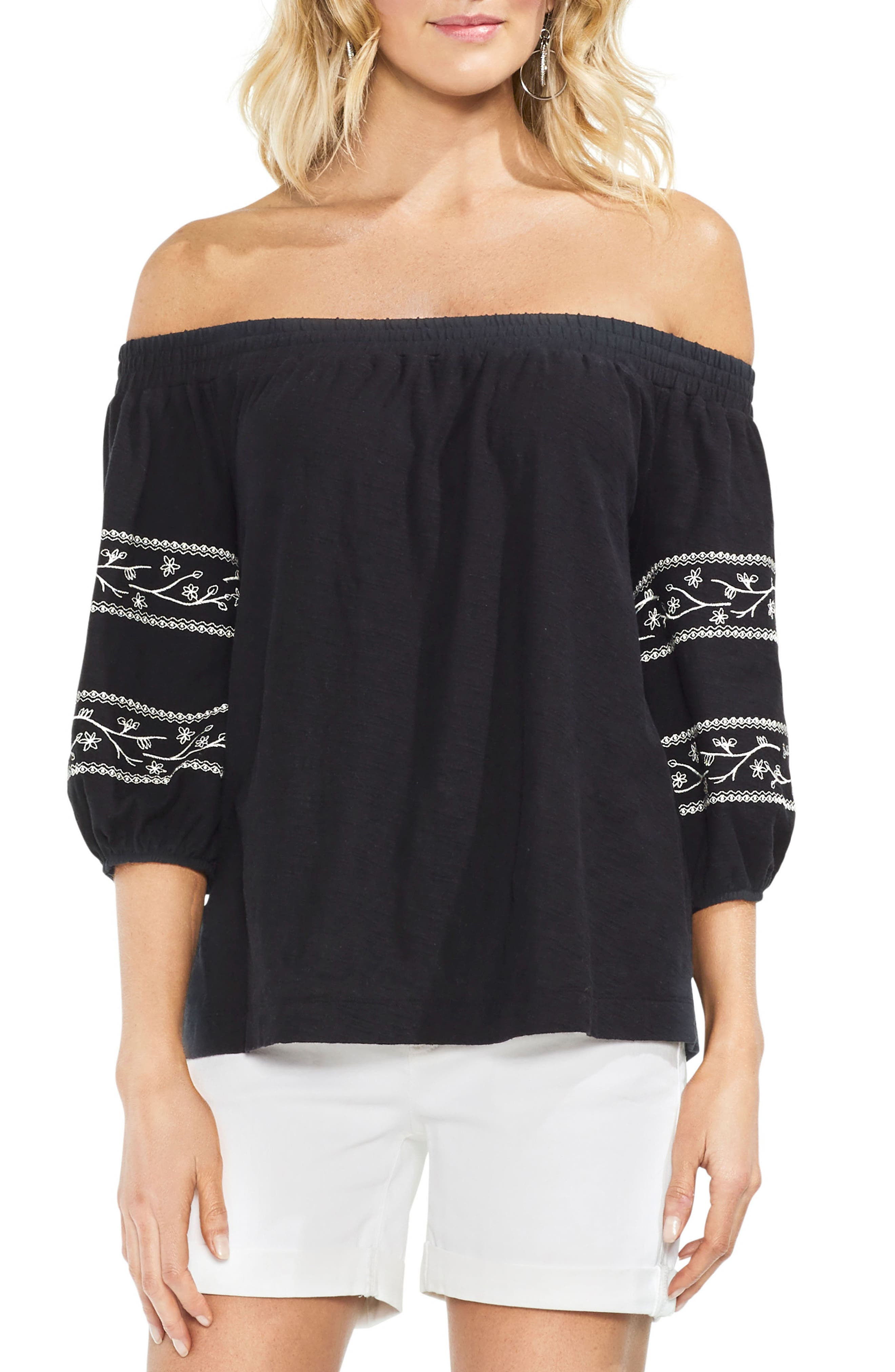 Embroidered Off the Shoulder Top,                             Main thumbnail 1, color,                             001