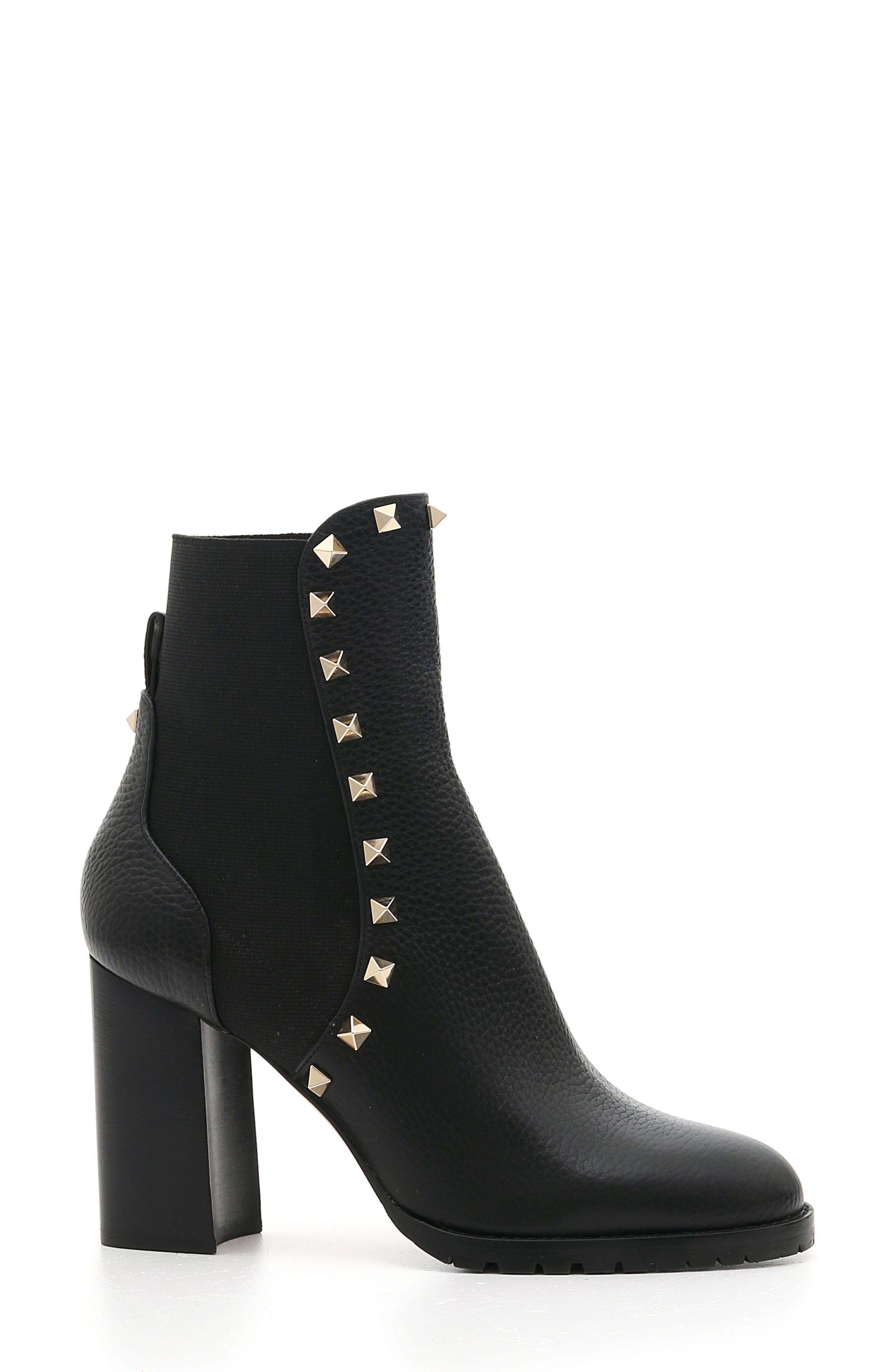Rockstud Block Heel Bootie,                         Main,                         color, BLACK