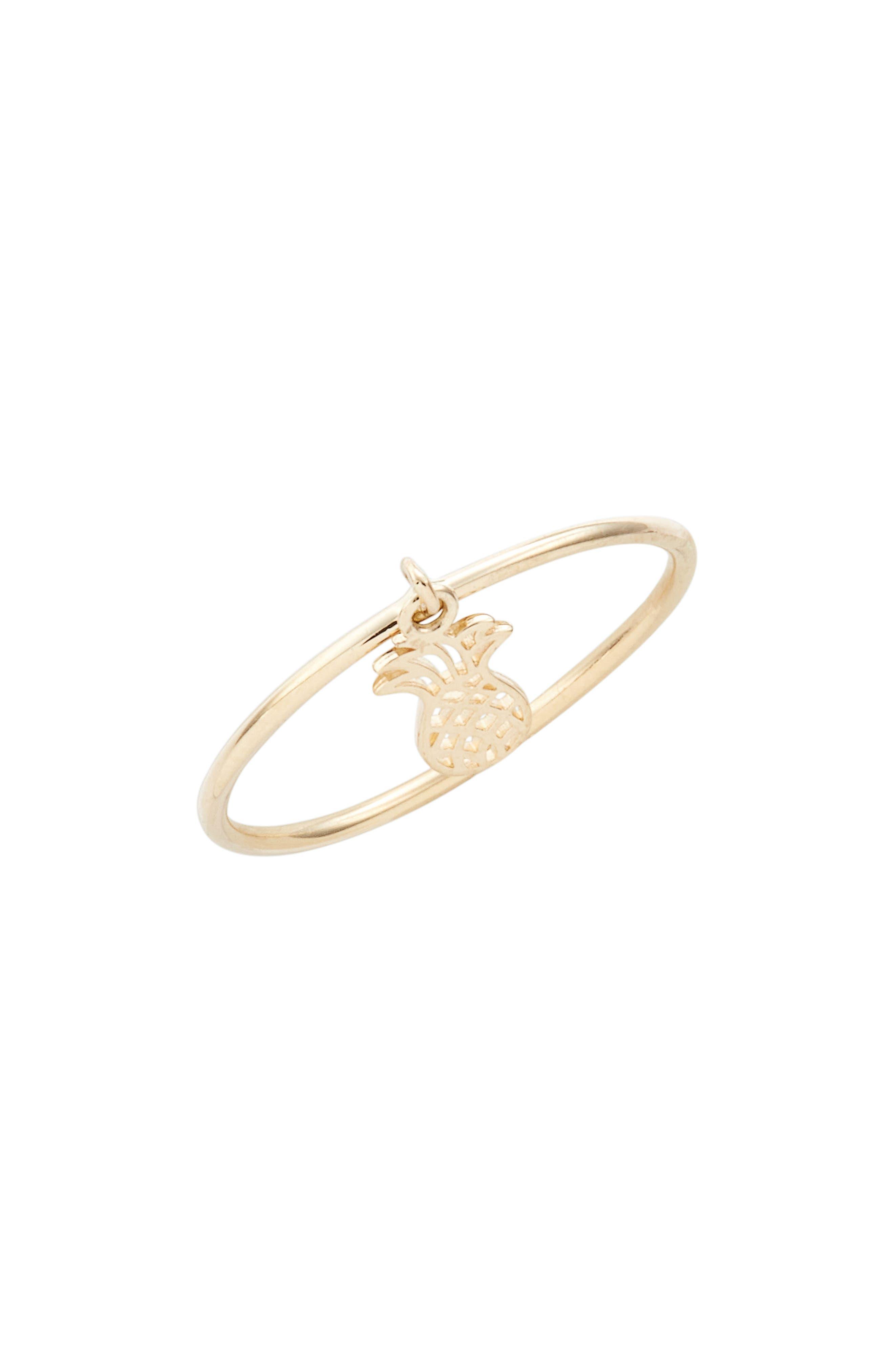 Skinny Dangling Pineapple Charm Ring,                             Main thumbnail 1, color,                             710