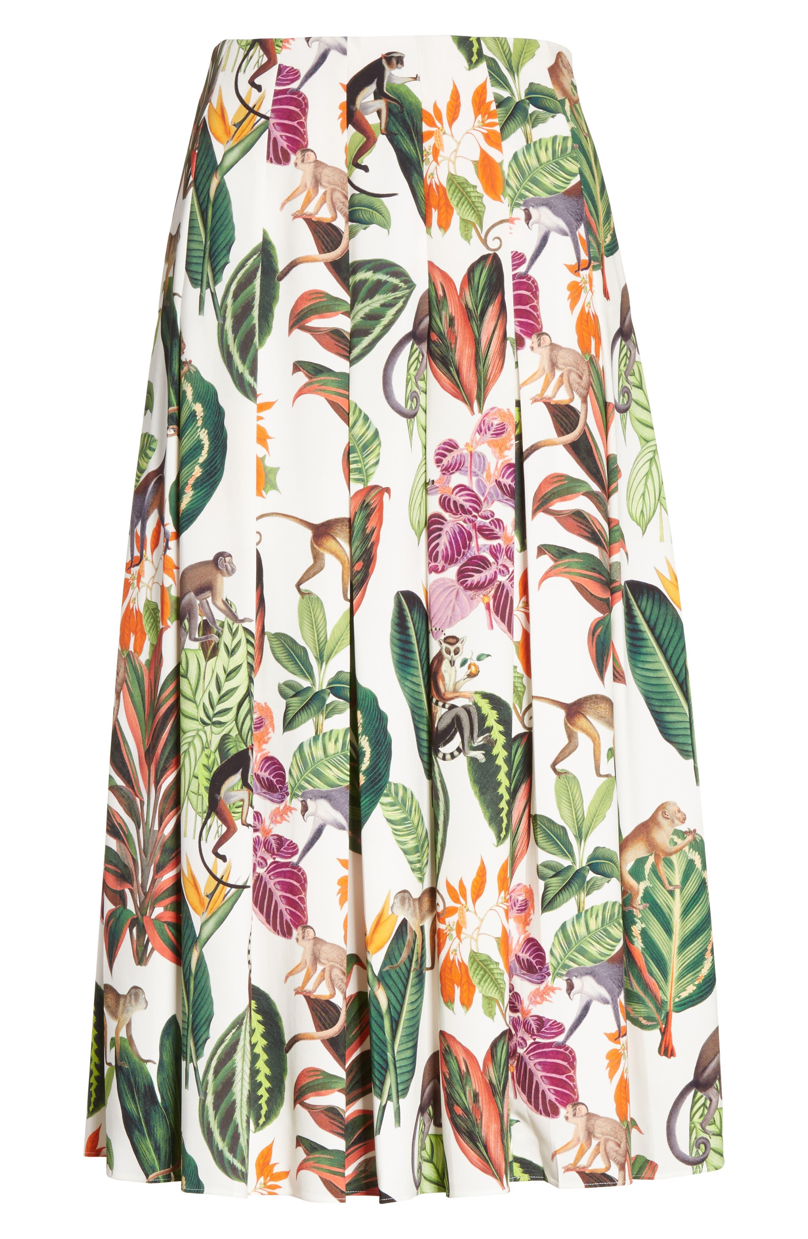 Jungle Print Pleated Stretch Silk Skirt,                             Alternate thumbnail 6, color,                             300