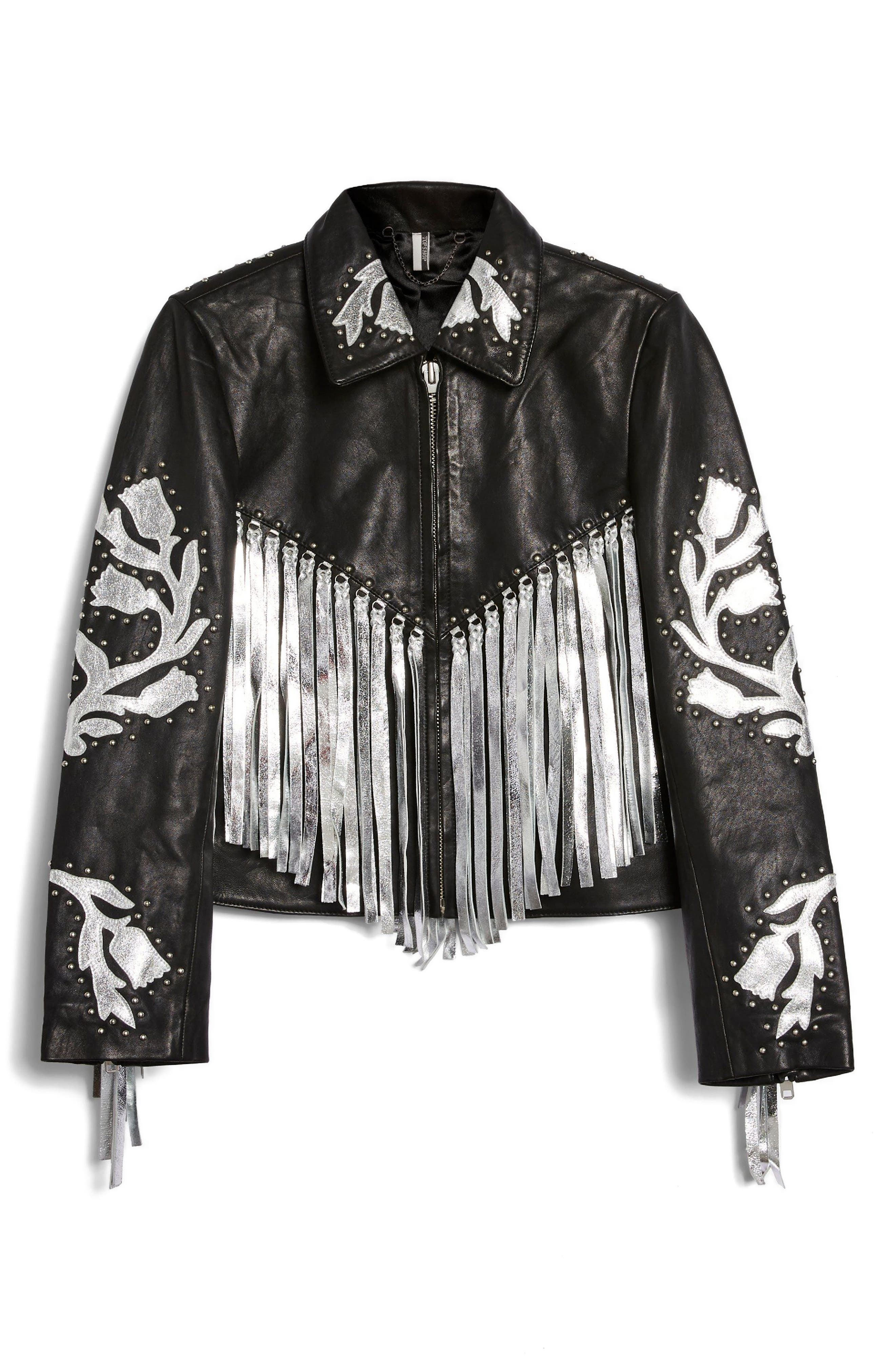Austin Floral Silver Fringed Leather Jacket,                             Alternate thumbnail 4, color,                             001