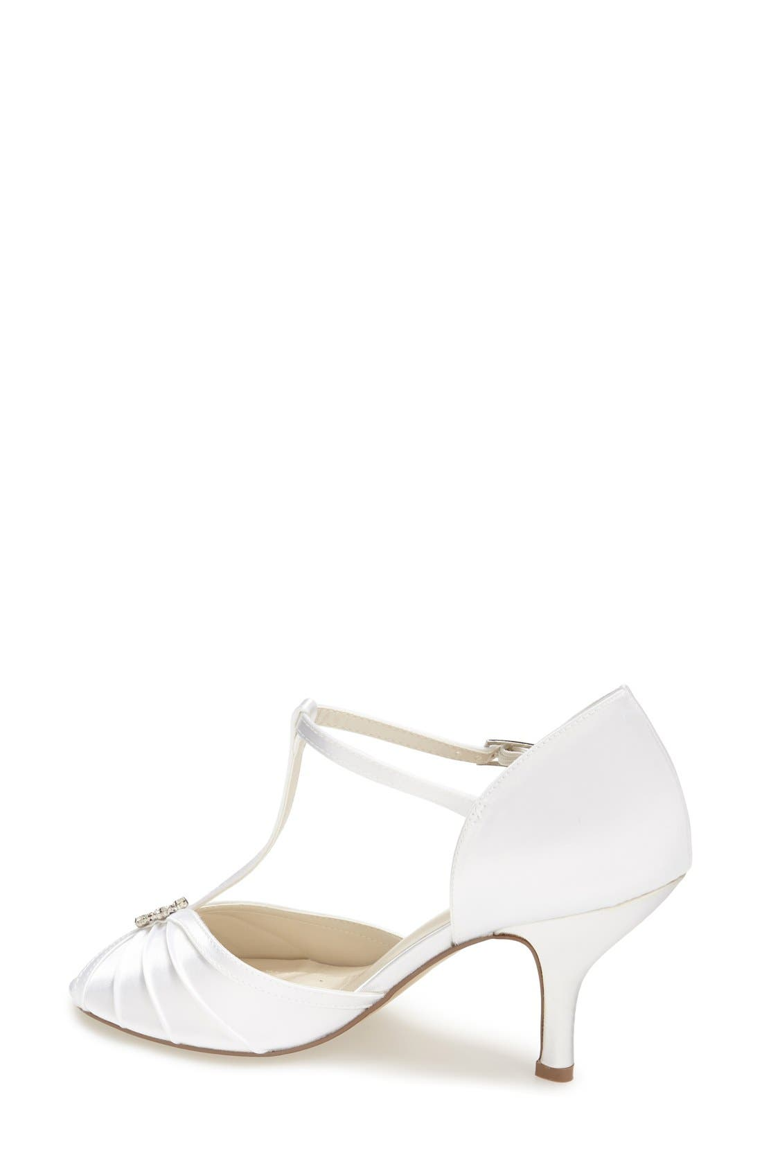 'Perfume' T-Strap Peep Toe Pump,                             Alternate thumbnail 2, color,                             WHITE SATIN