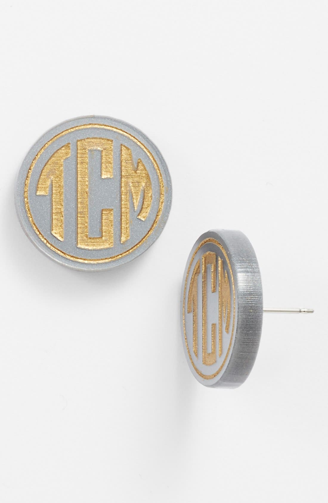 'Chelsea' Medium Personalized Monogram Stud Earrings,                             Main thumbnail 1, color,                             GUNMETAL/ GOLD