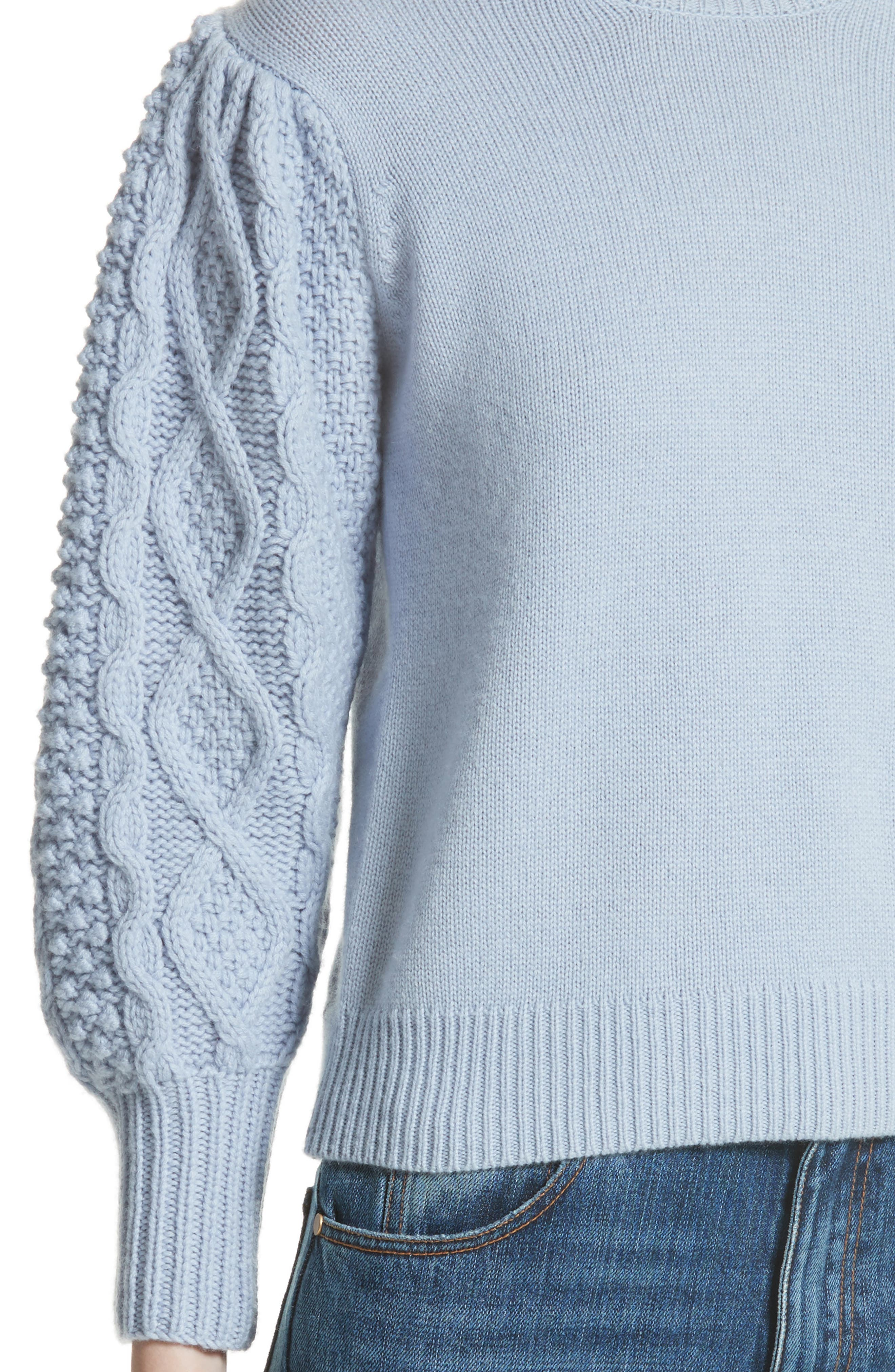 Puff Sleeve Wool & Cashmere Sweater,                             Alternate thumbnail 4, color,                             400