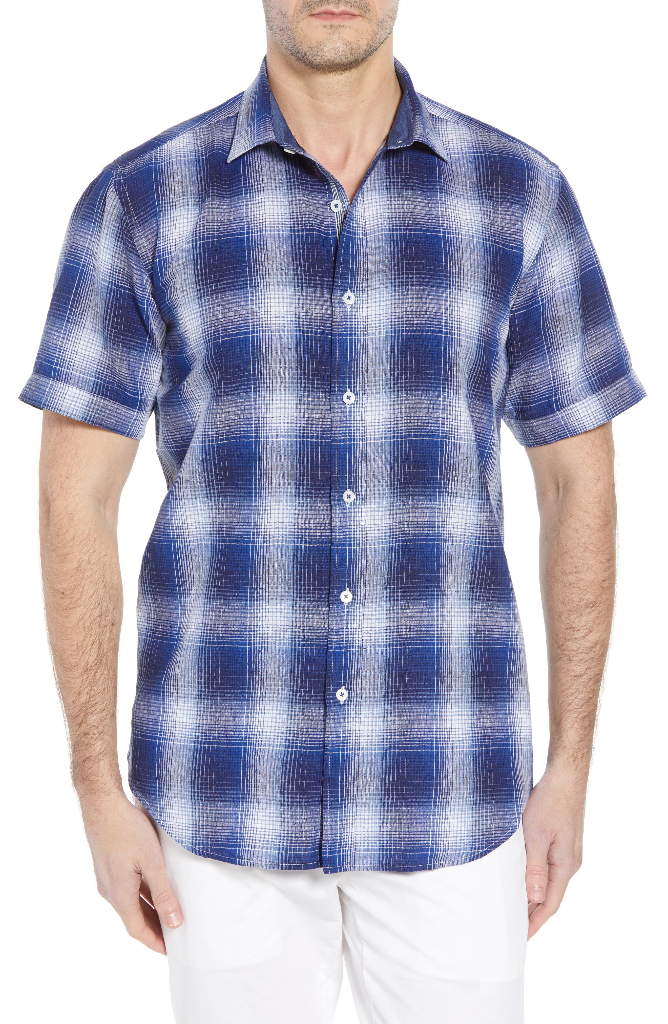 Shaped Fit Plaid Linen Blend Sport Shirt,                         Main,                         color, NAVY