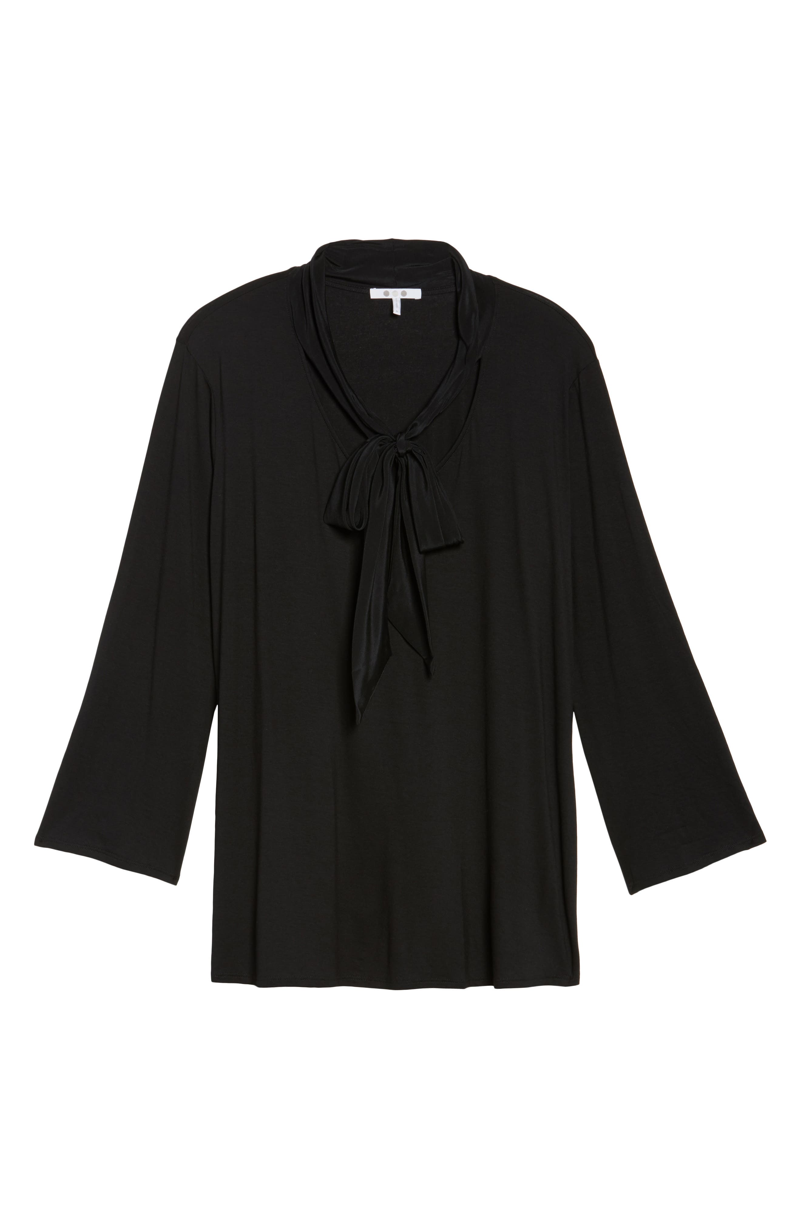 Tie Neck Jersey Top,                             Alternate thumbnail 6, color,                             010