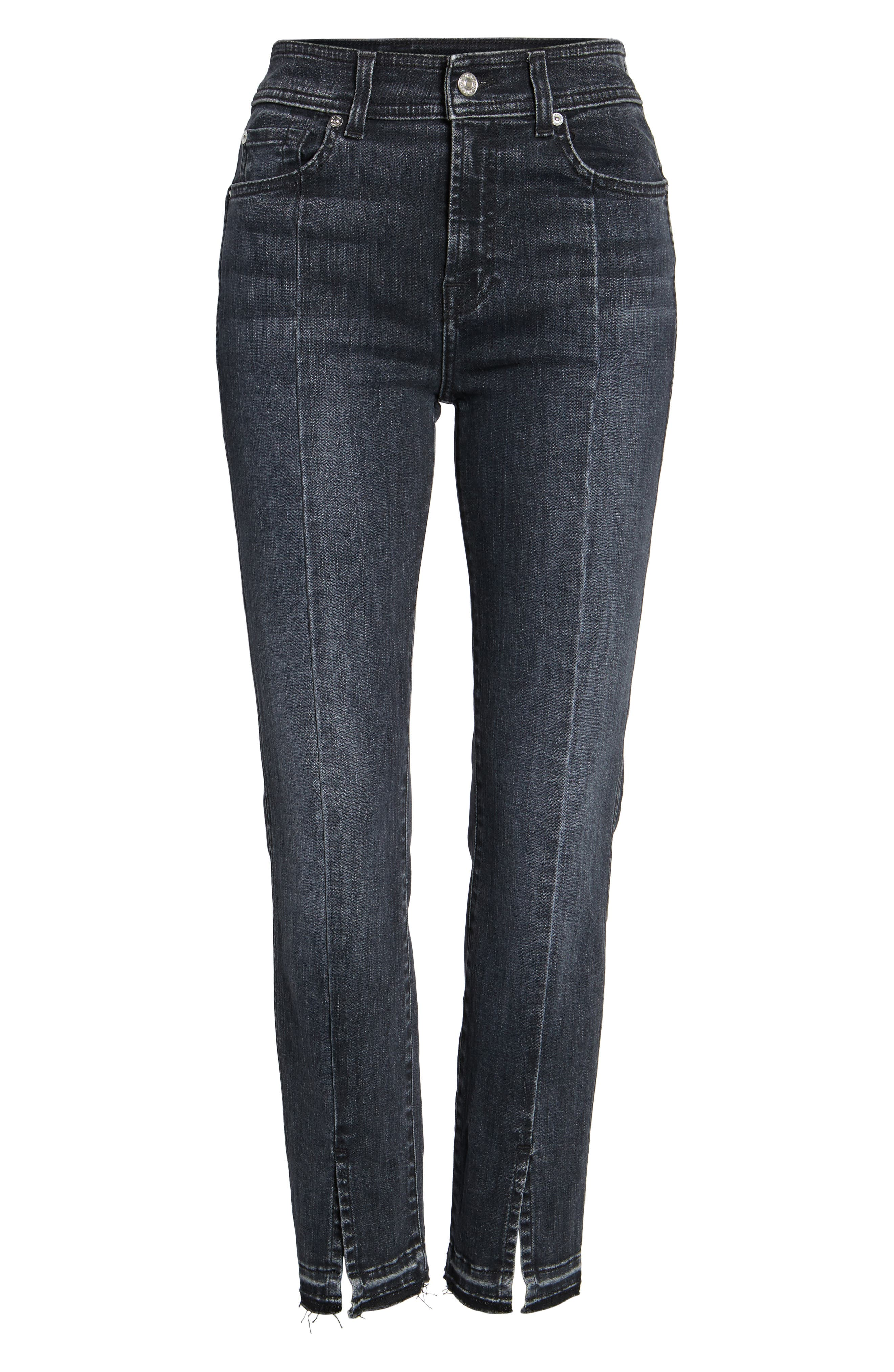 Split Hem Ankle Skinny Jeans,                             Alternate thumbnail 6, color,                             005