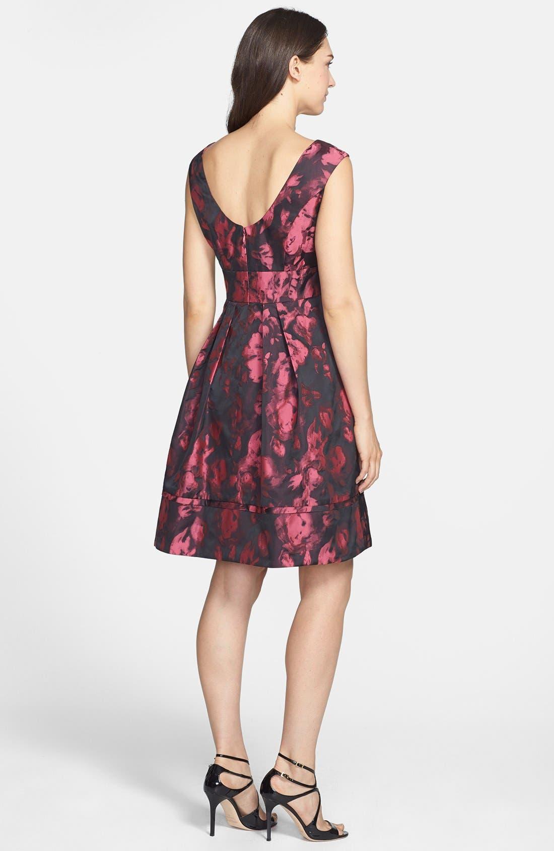 Jacquard Fit & Flare Dress,                             Alternate thumbnail 3, color,                             660