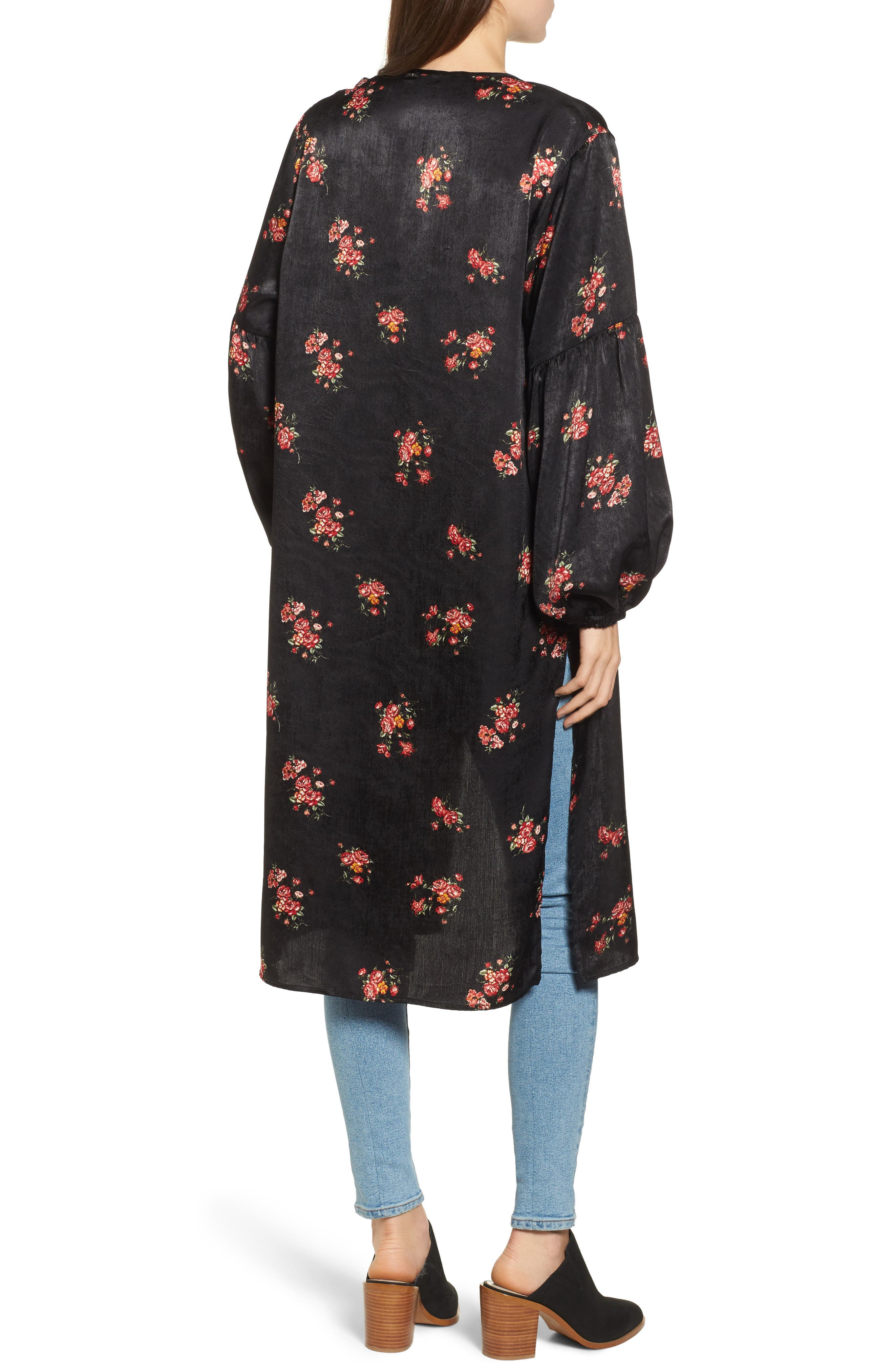 Tie Front Floral Print Duster,                             Alternate thumbnail 2, color,                             001