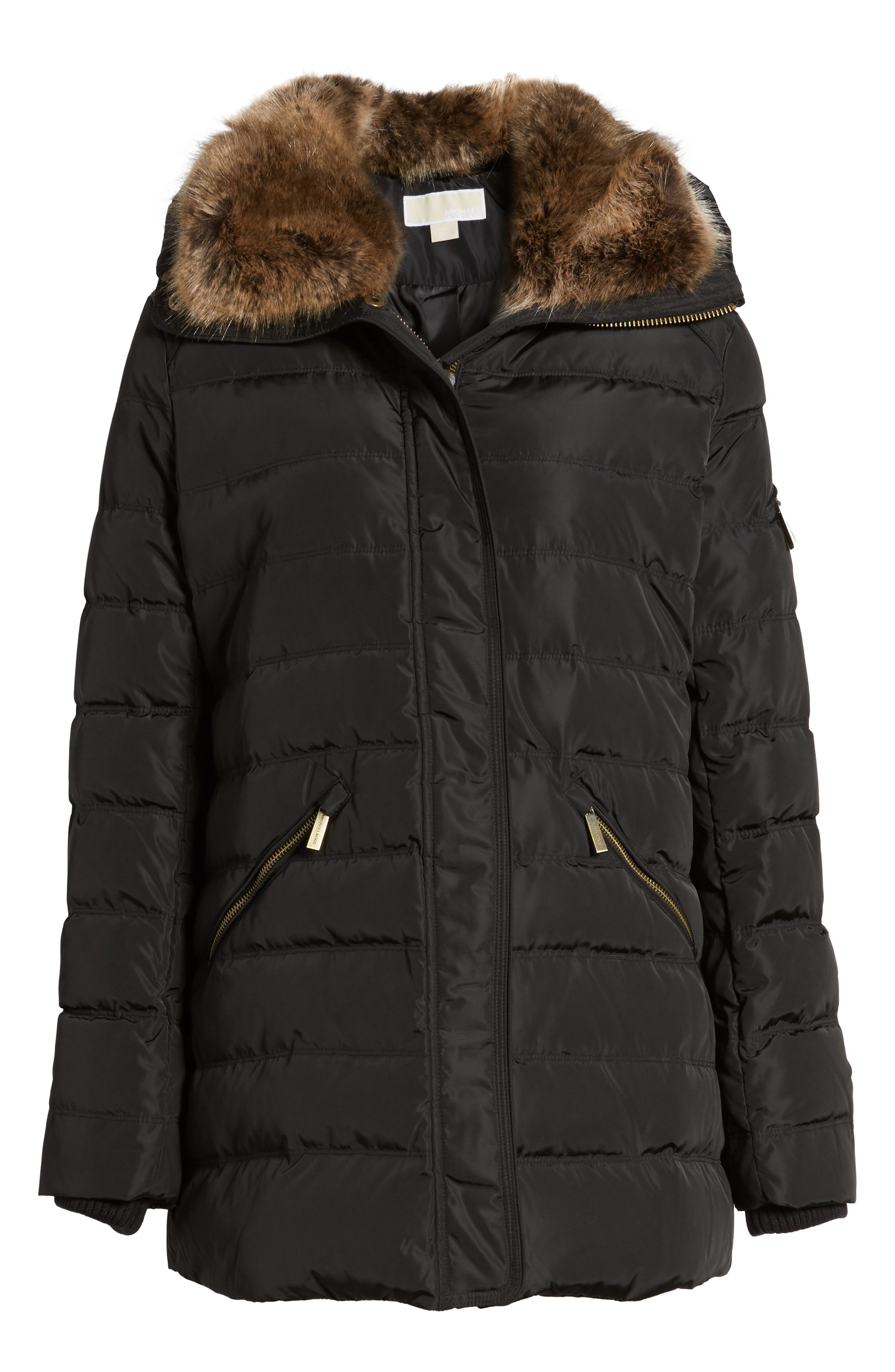 Hooded Coat with Faux Fur Trim,                             Alternate thumbnail 5, color,                             001