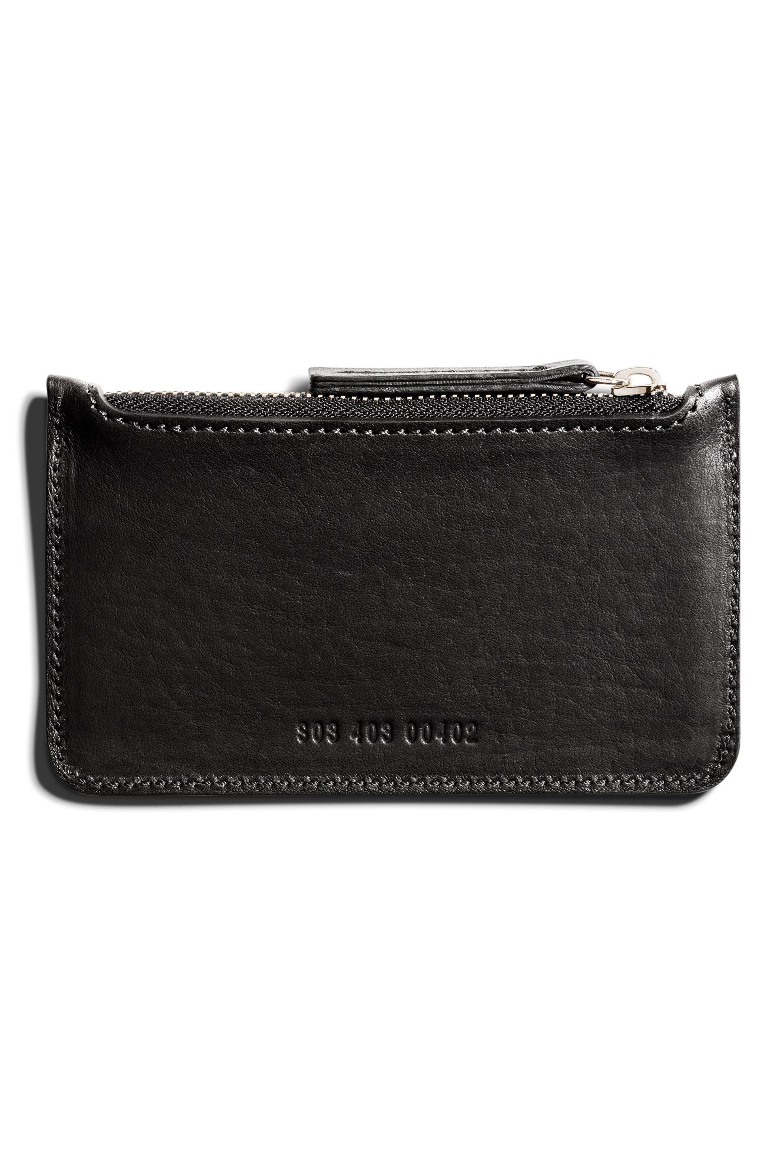 Leather Zip Pouch,                             Alternate thumbnail 2, color,                             001