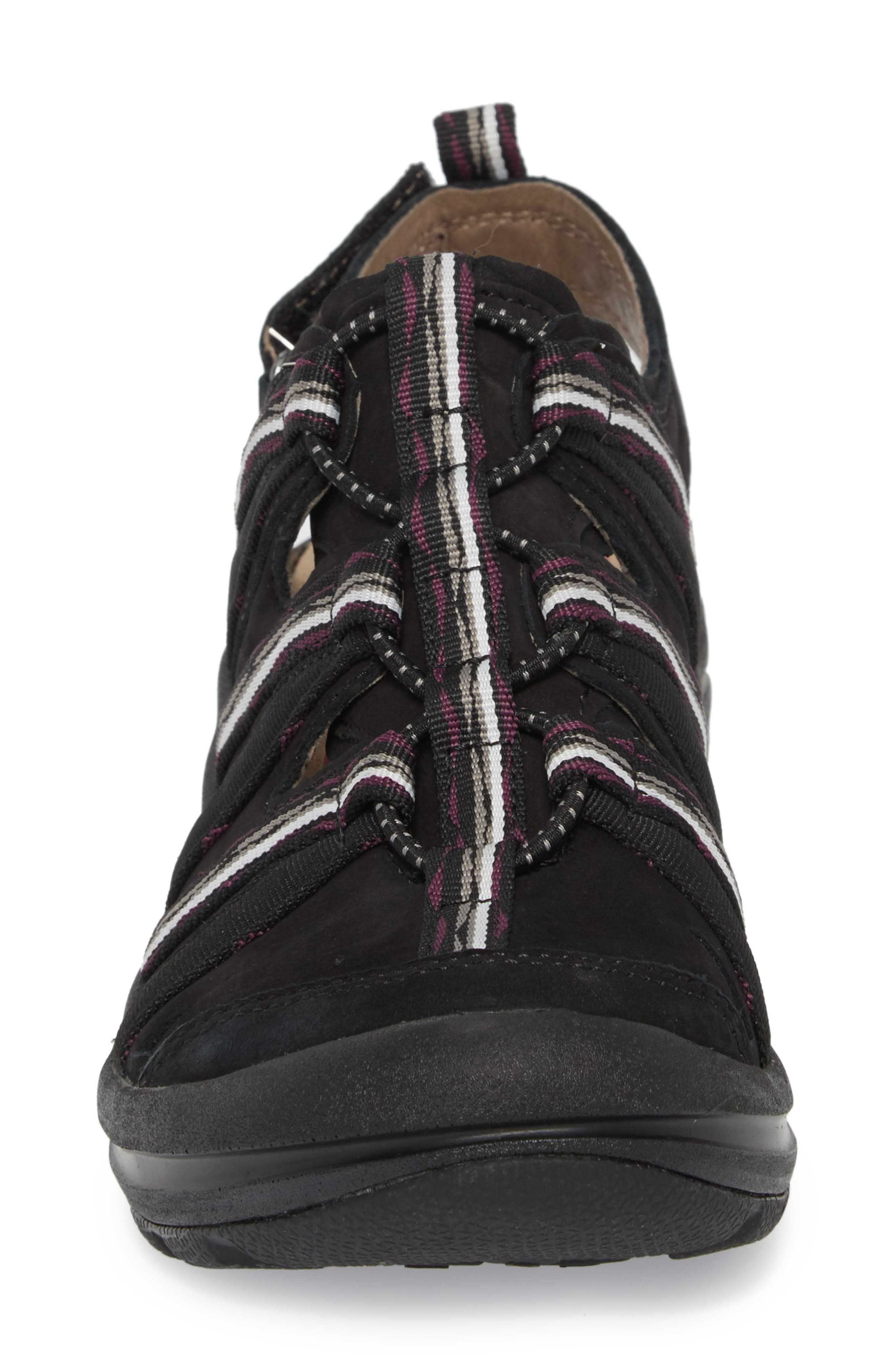 Malabar Sport Sandal,                             Alternate thumbnail 4, color,                             BLACK LEATHER