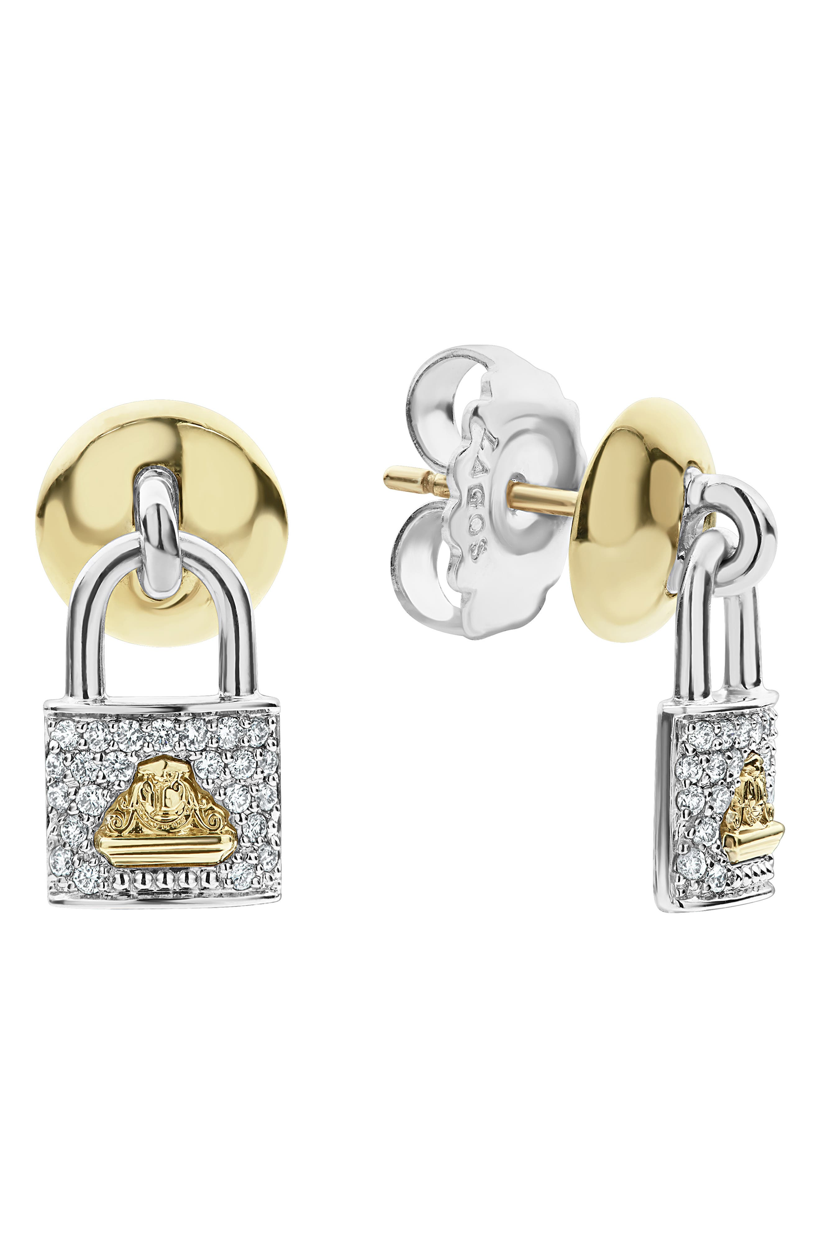 LAGOS,                             Beloved Diamond Pavé Lock Earrings,                             Alternate thumbnail 3, color,                             SILVER/ DIAMOND