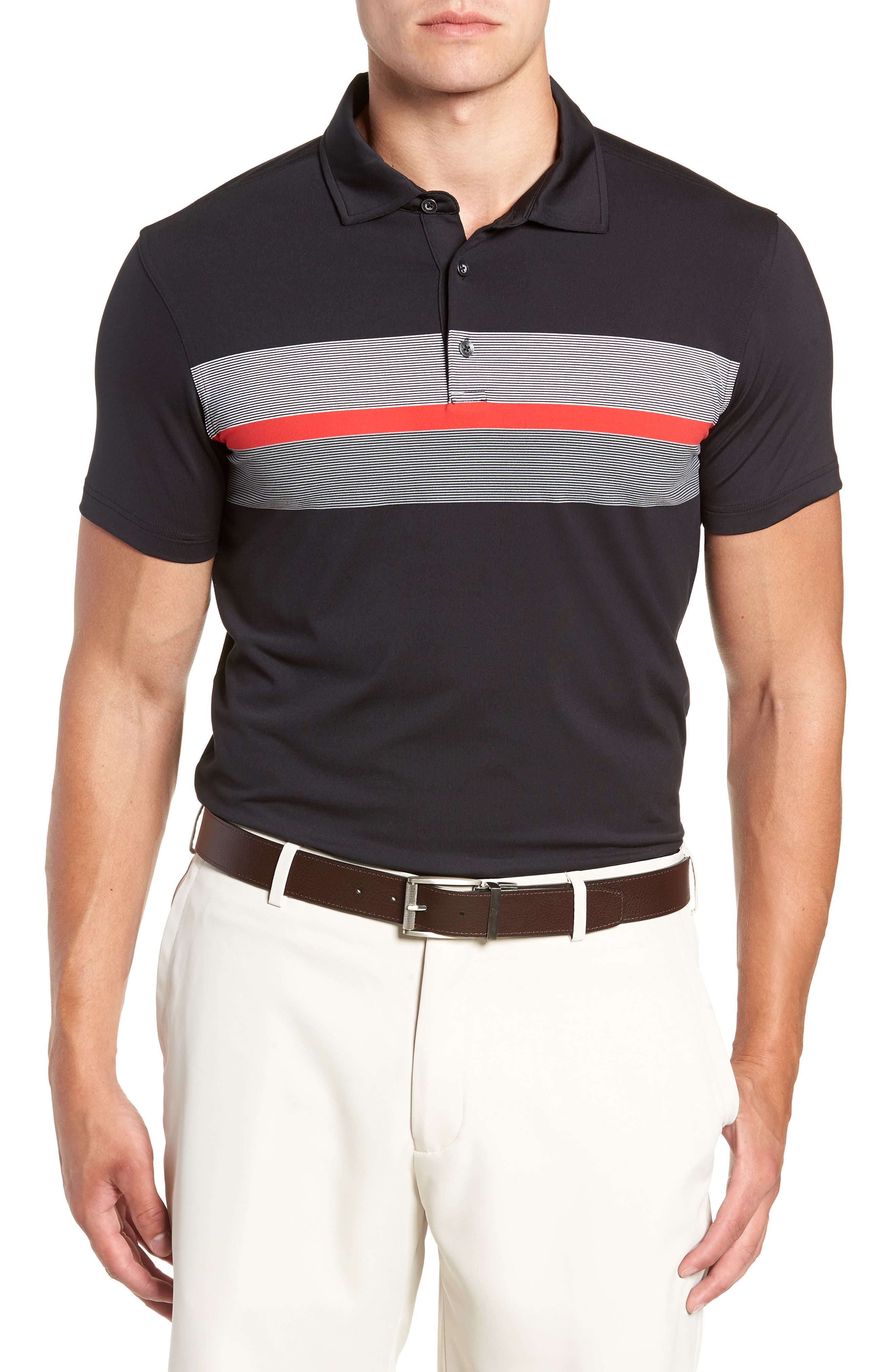 R18 Tech Daytona Stripe Golf Polo,                         Main,                         color, BLACK