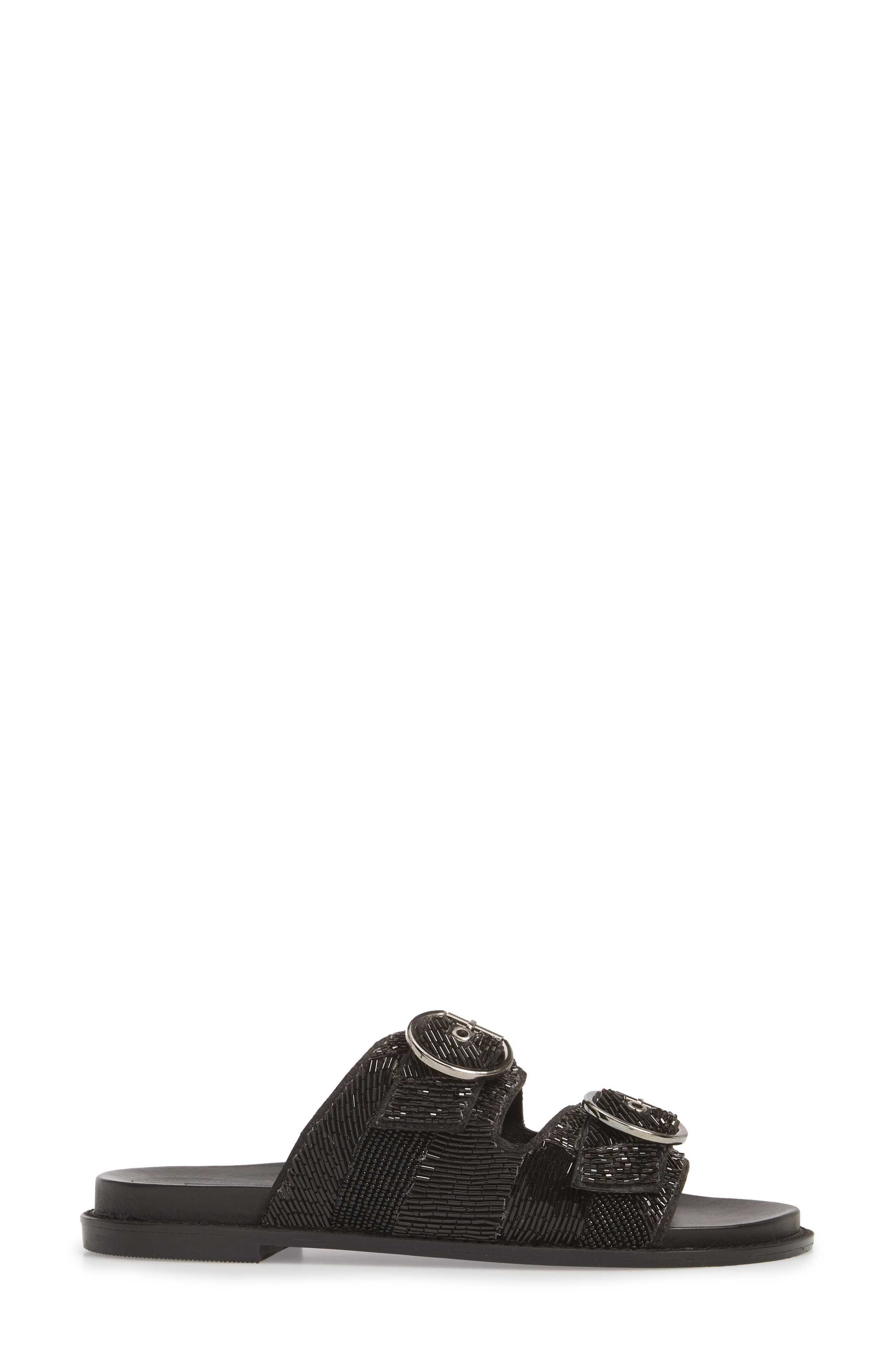 Frankie Embellished Slide Sandal,                             Alternate thumbnail 3, color,                             001