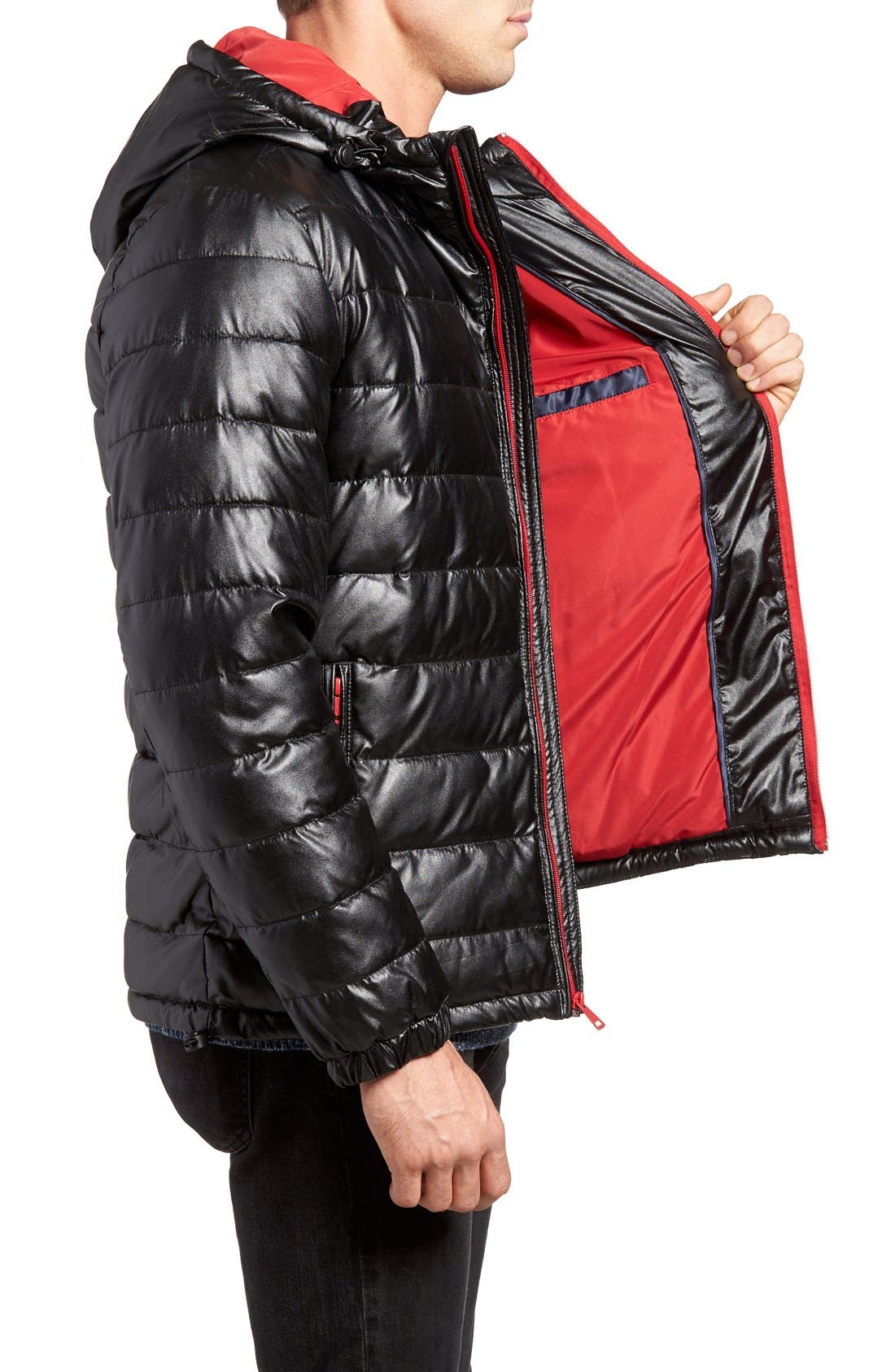 Quilted Faux Leather Hooded Puffer Jacket,                             Alternate thumbnail 3, color,                             BLACK/ RED