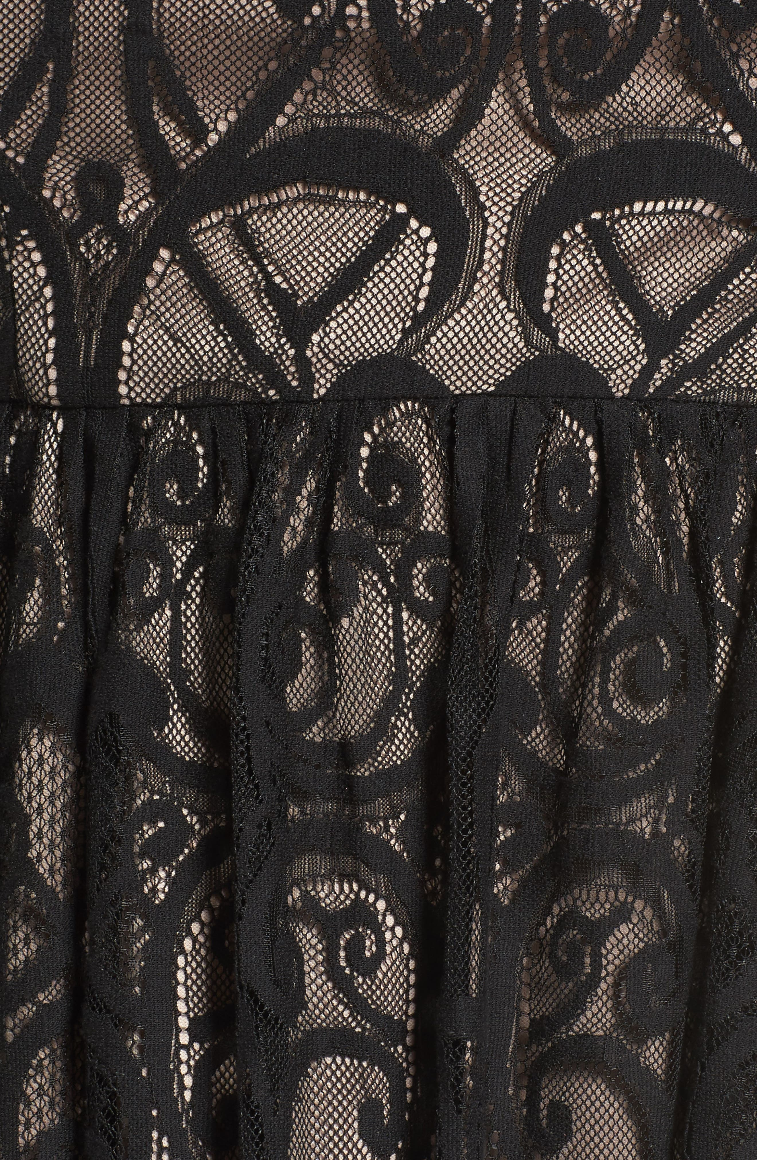 Illusion Lace Fit & Flare Dress,                             Alternate thumbnail 5, color,                             BLACK