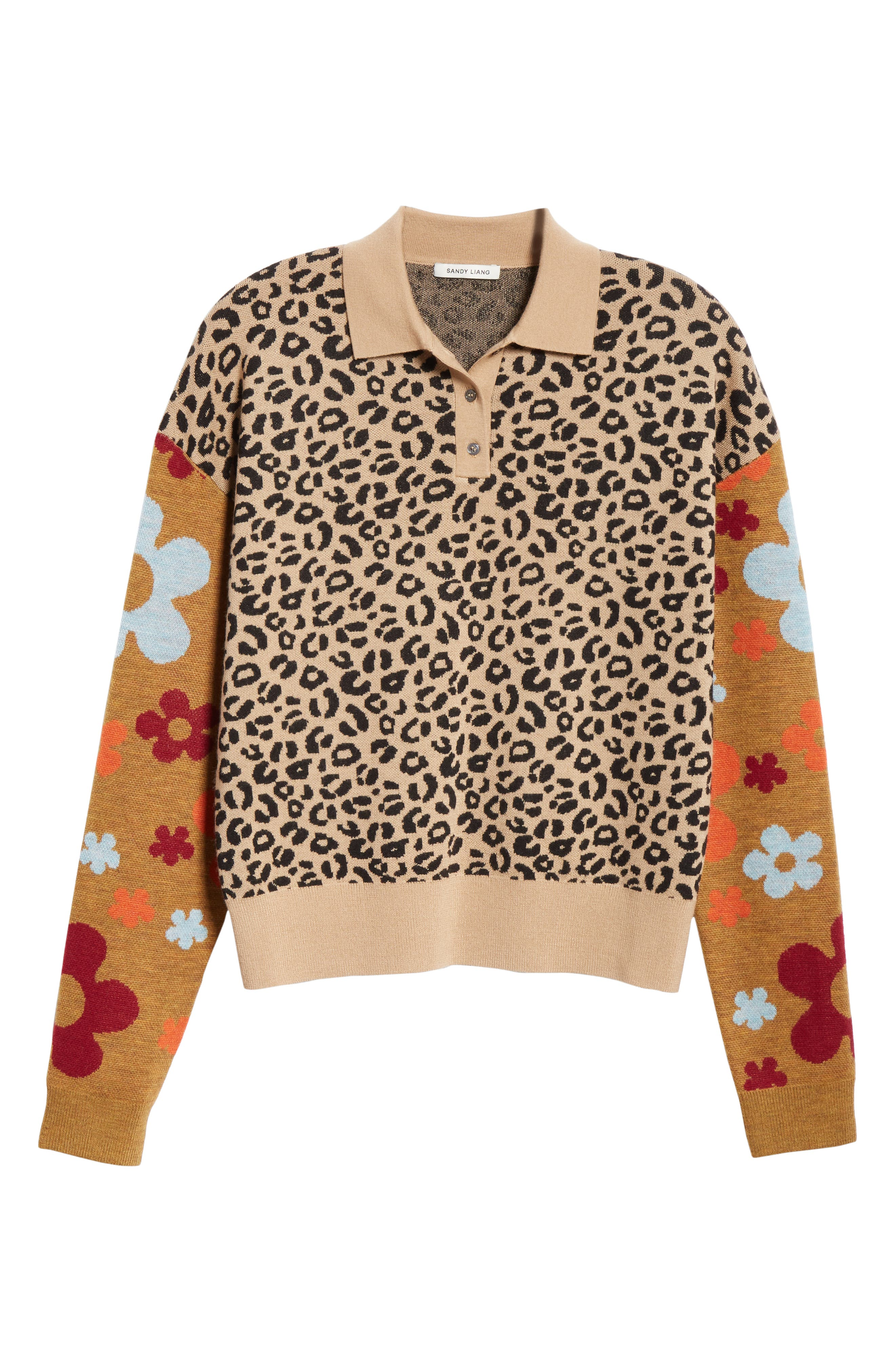 SANDY LIANG,                             Paw Paw Polo Sweater,                             Alternate thumbnail 7, color,                             LEOPARD FLORAL