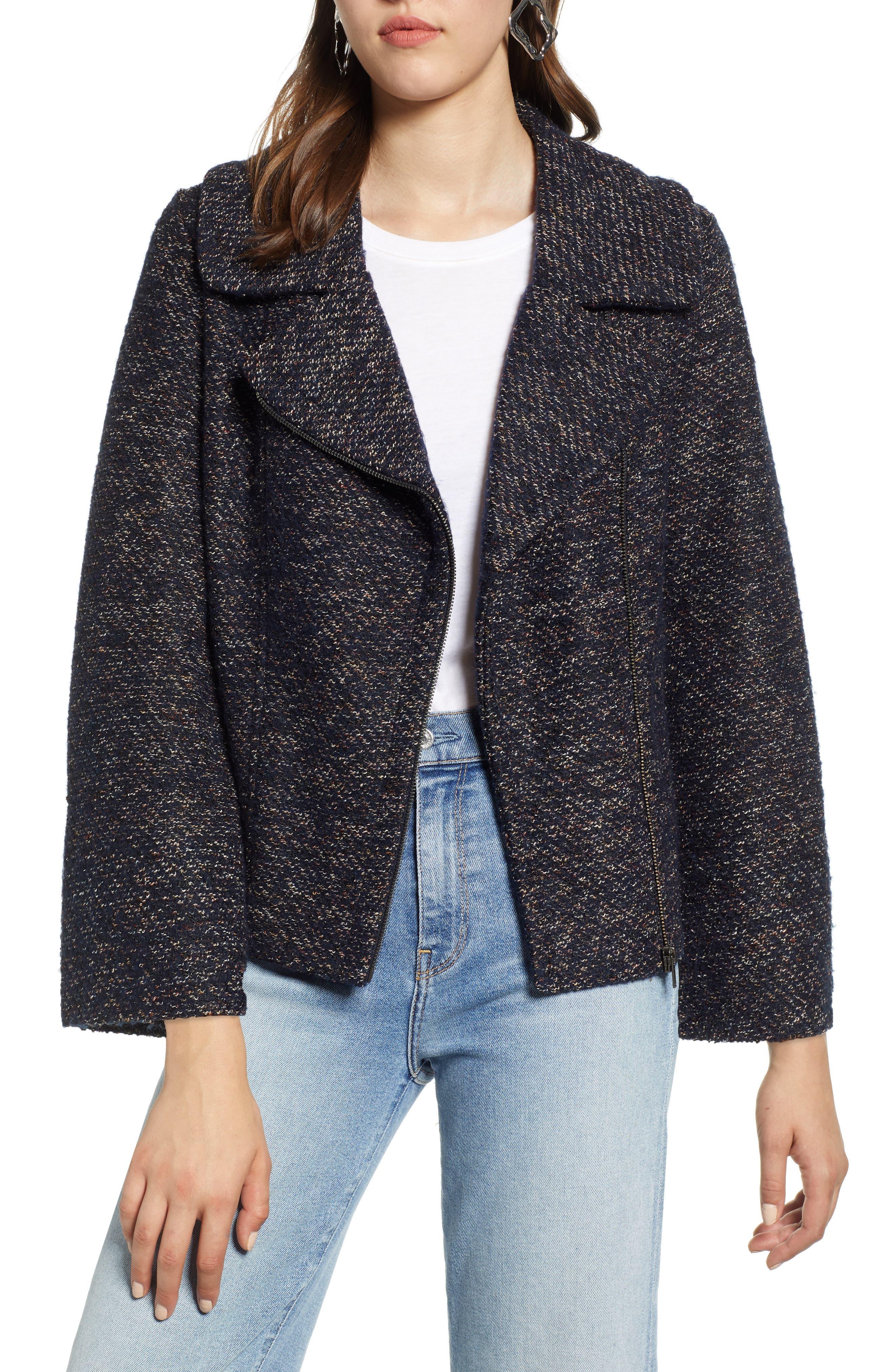 Tweed Moto Jacket,                         Main,                         color, NAVY SPECKLE