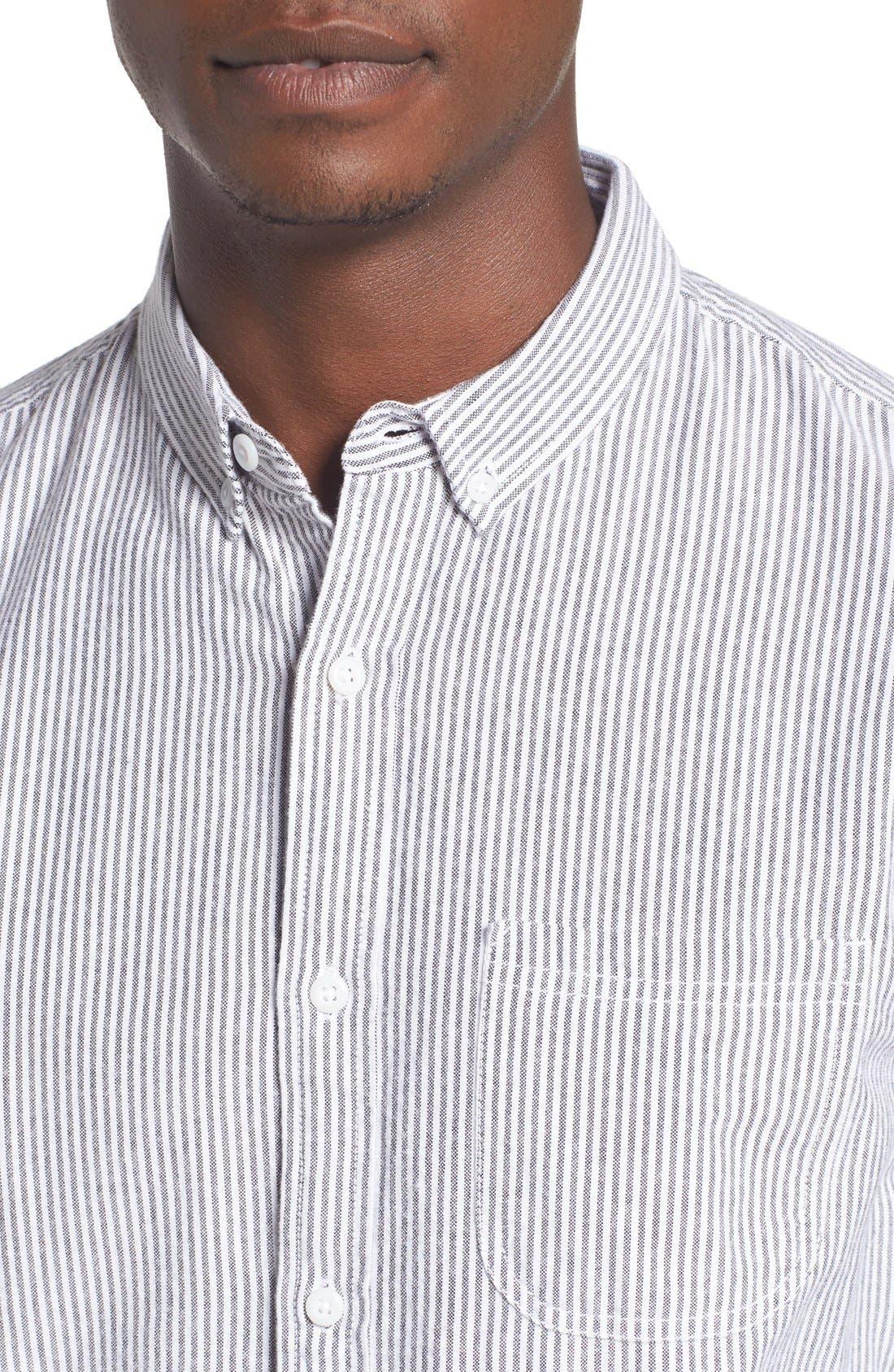 'Baker' Slim Fit Oxford Shirt,                             Alternate thumbnail 4, color,                             001