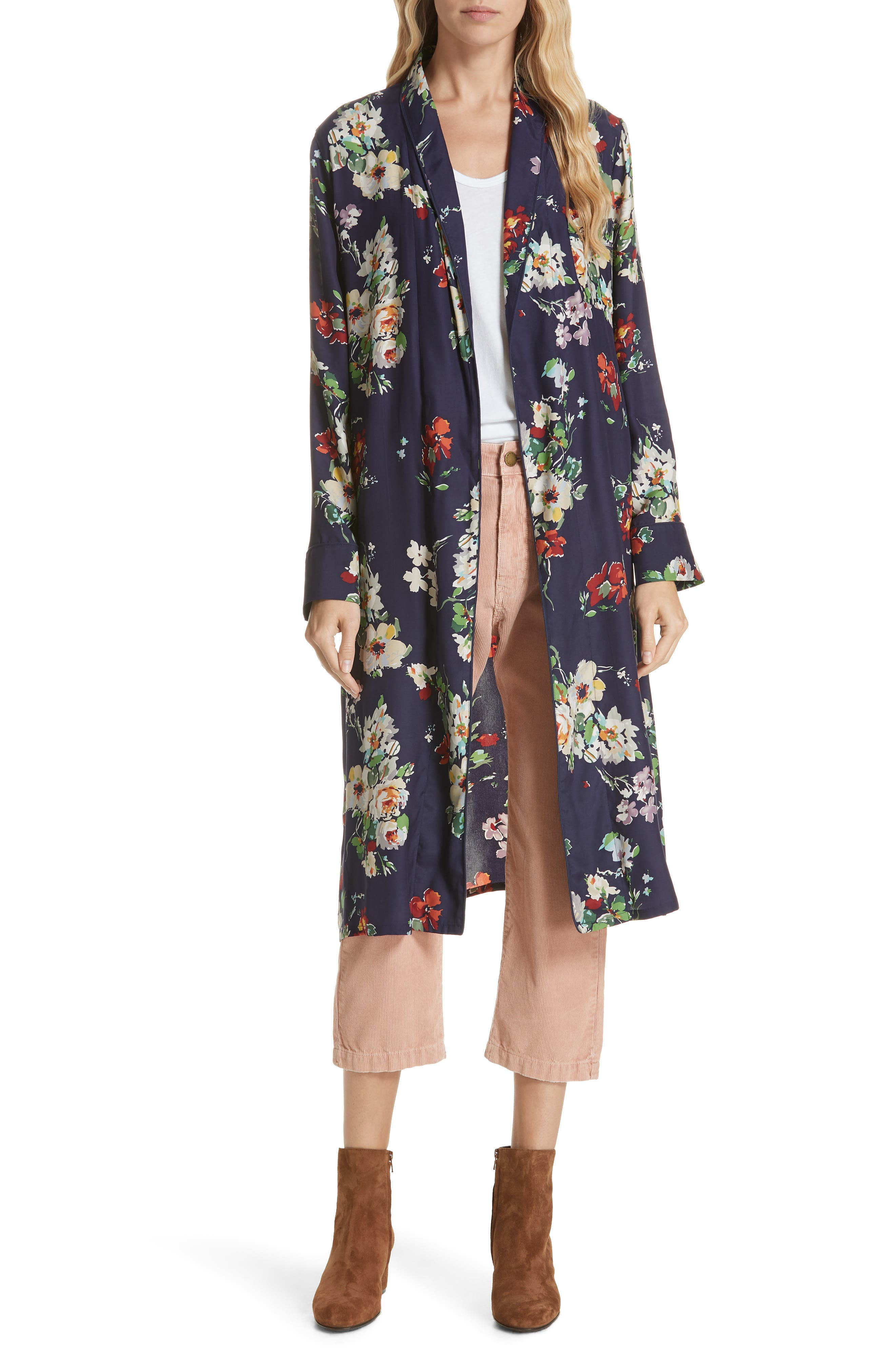Floral Silk Robe Jacket,                             Alternate thumbnail 7, color,                             460