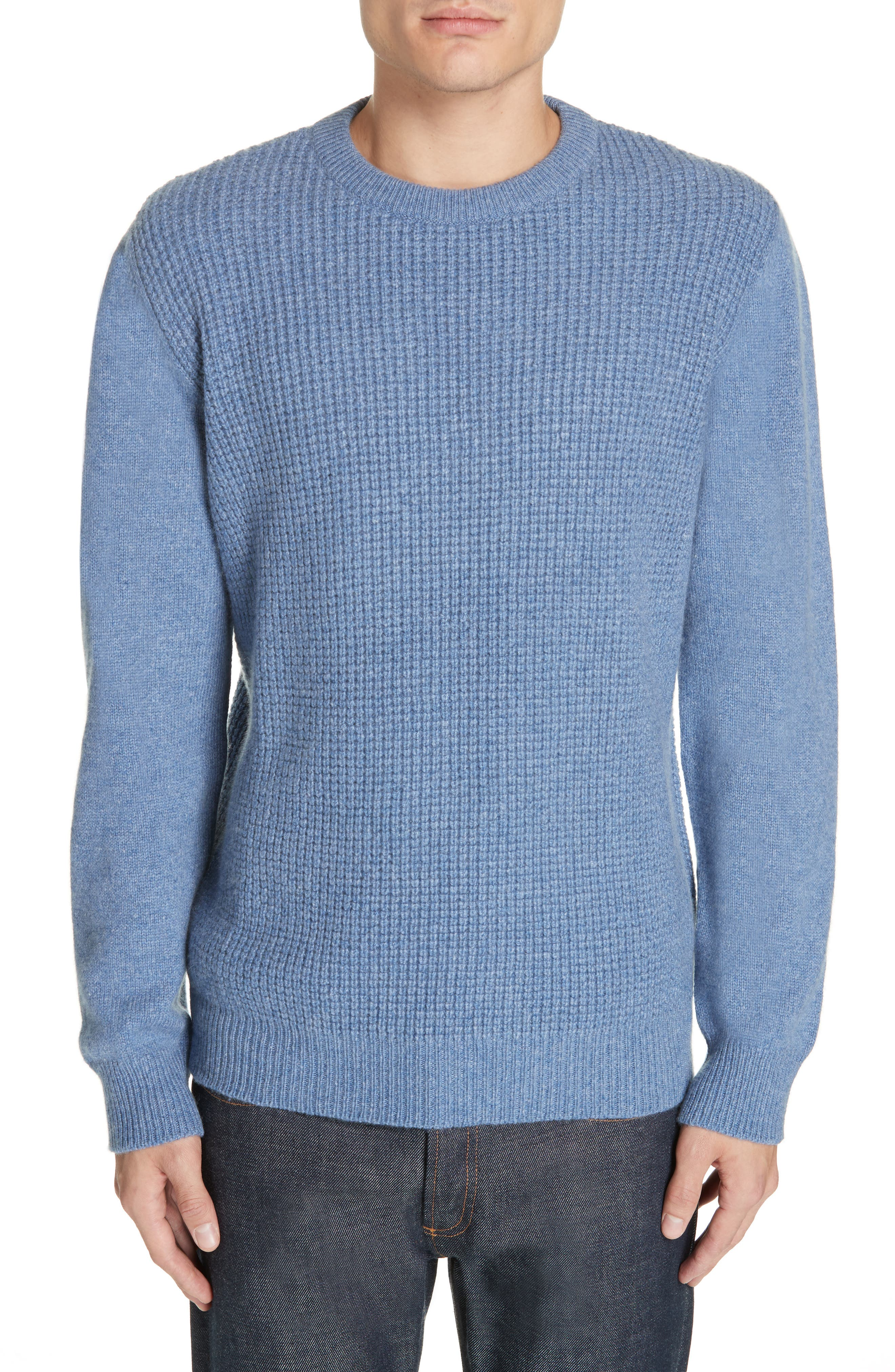 Waffle Knit Cashmere Crewneck Sweater,                             Main thumbnail 1, color,                             LIGHT BLUE